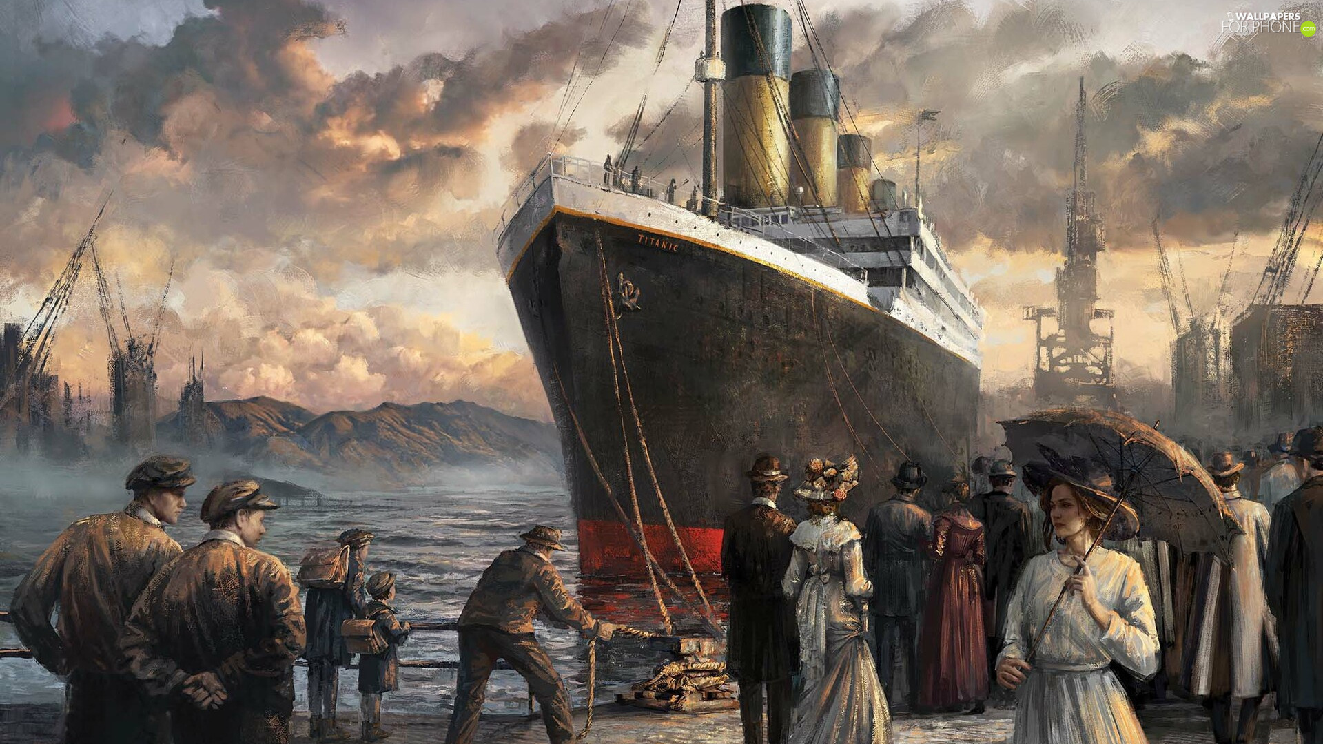People, port, Ship, Titanic, graphics