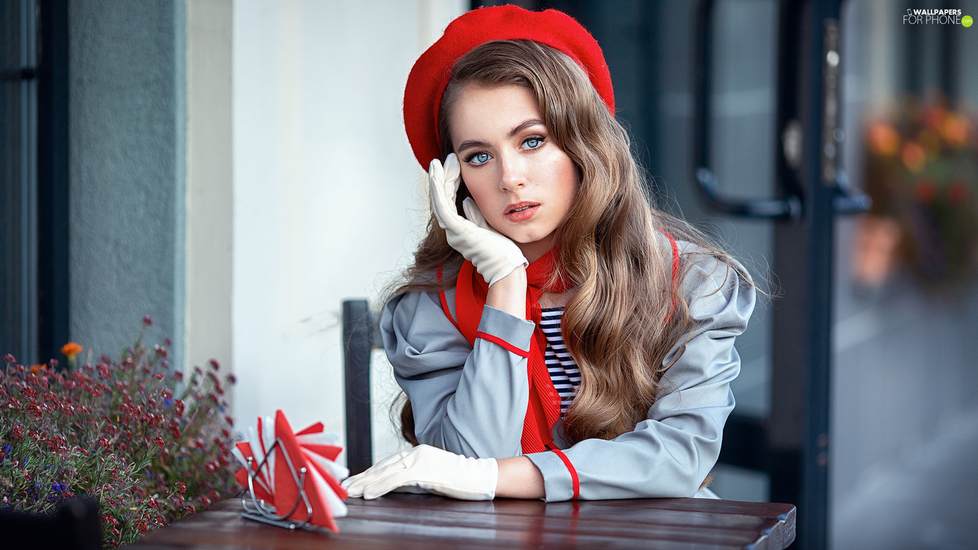 girl, Red, beret, light brown