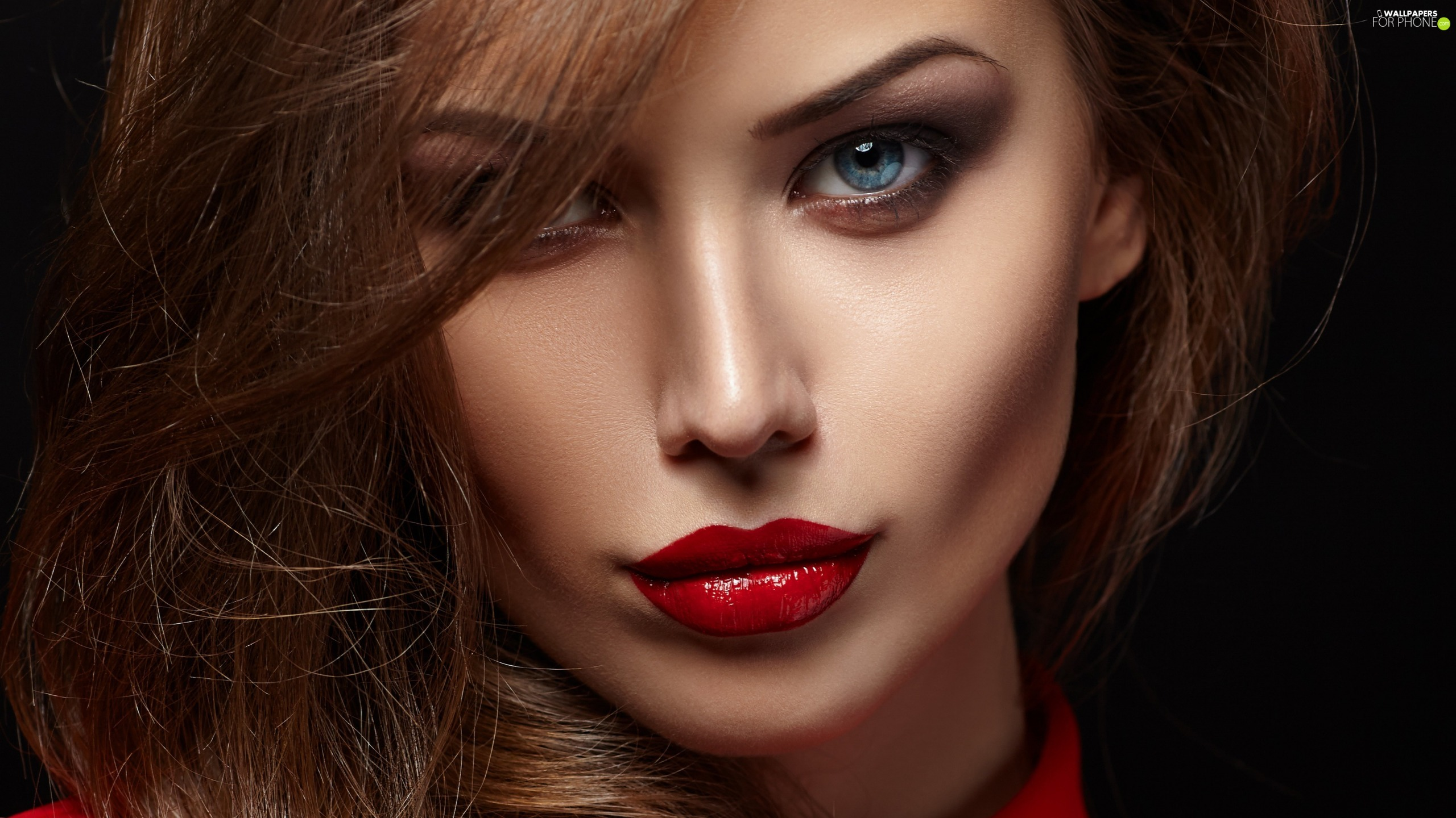 Red, lips, face, make-up, Women