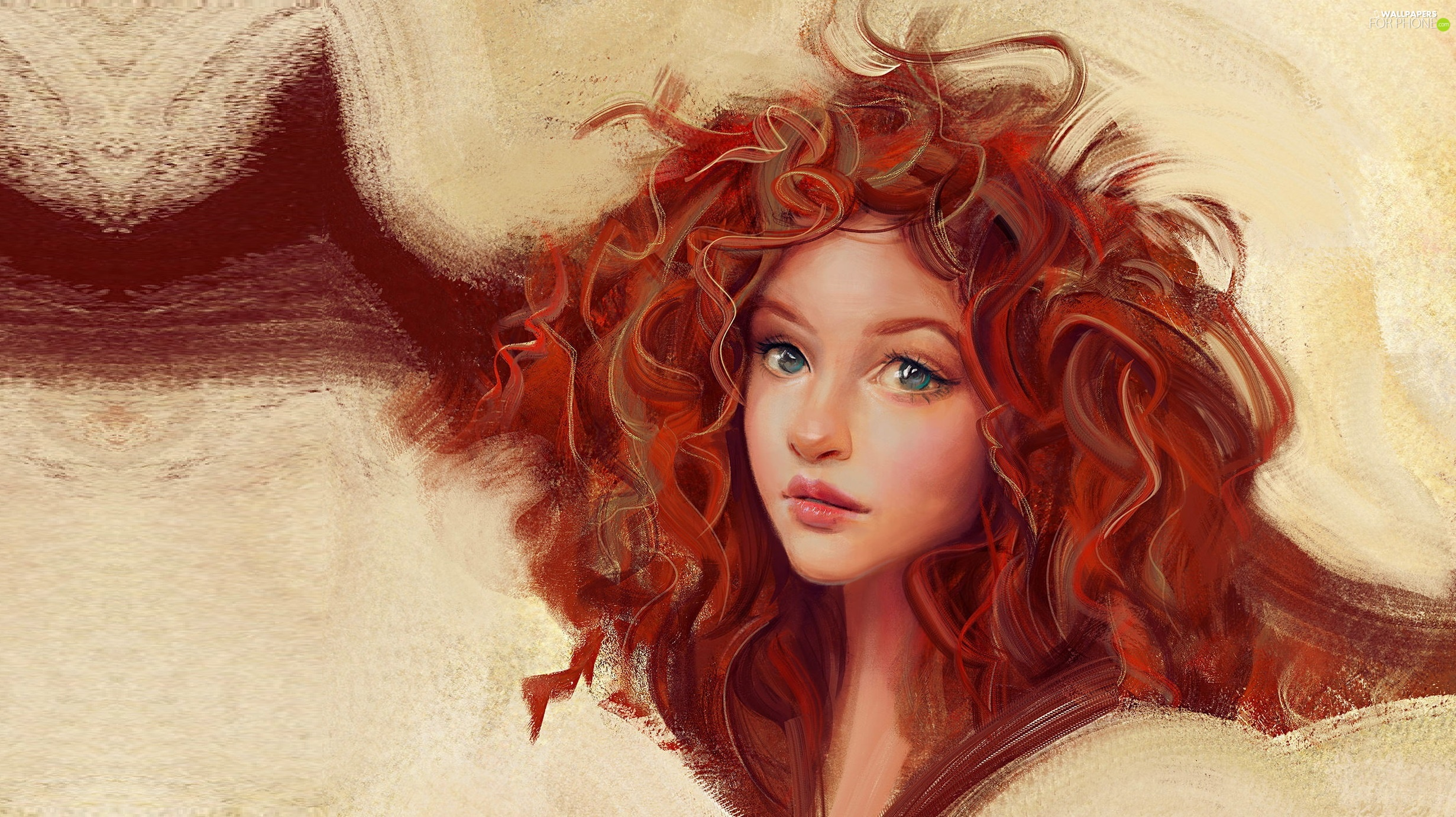 curls, graphics, girl, red head, Women