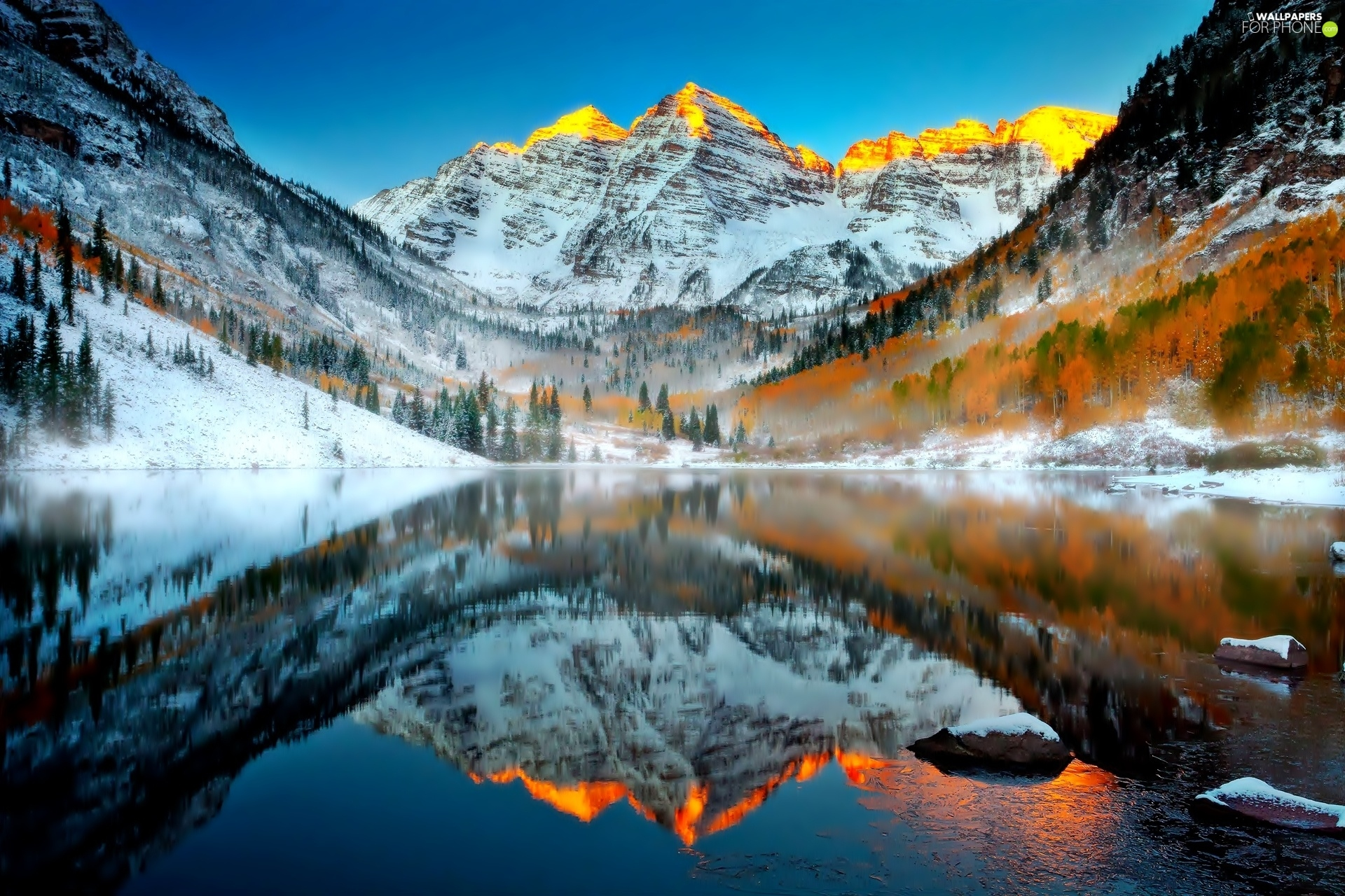 winter, lake, reflection, Mountains