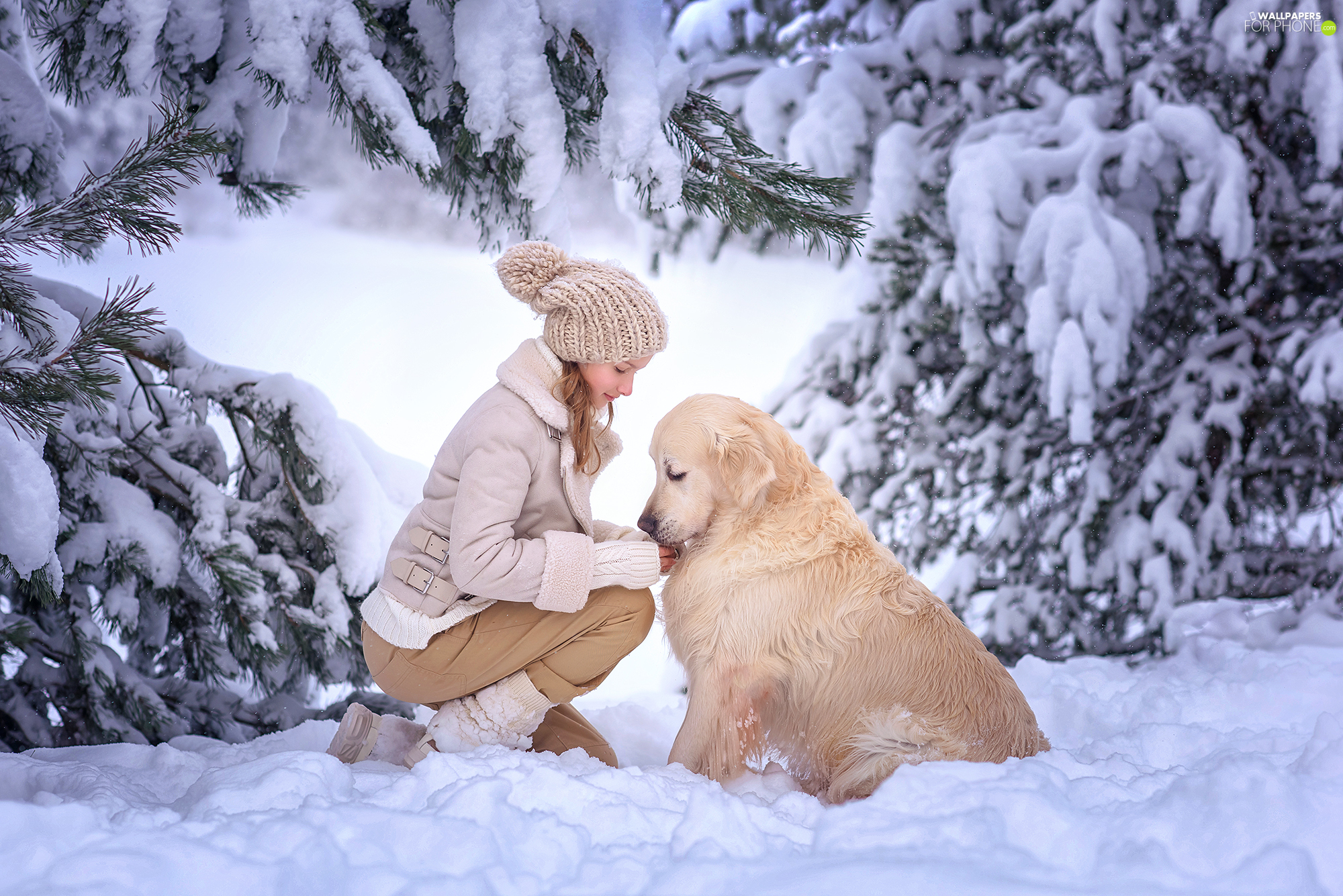 snow, trees, dog, viewes, winter, girl, Golden Retriever