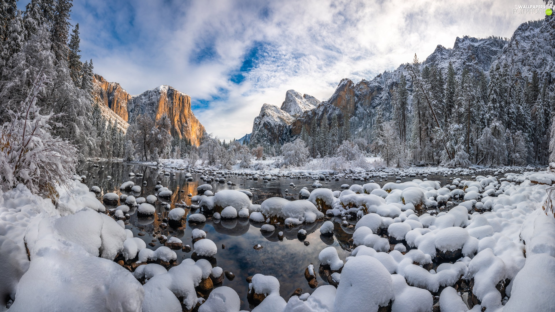Stones, State of California, winter, viewes, Mountains, The United States, Yosemite National Park, clouds, trees, Merced River