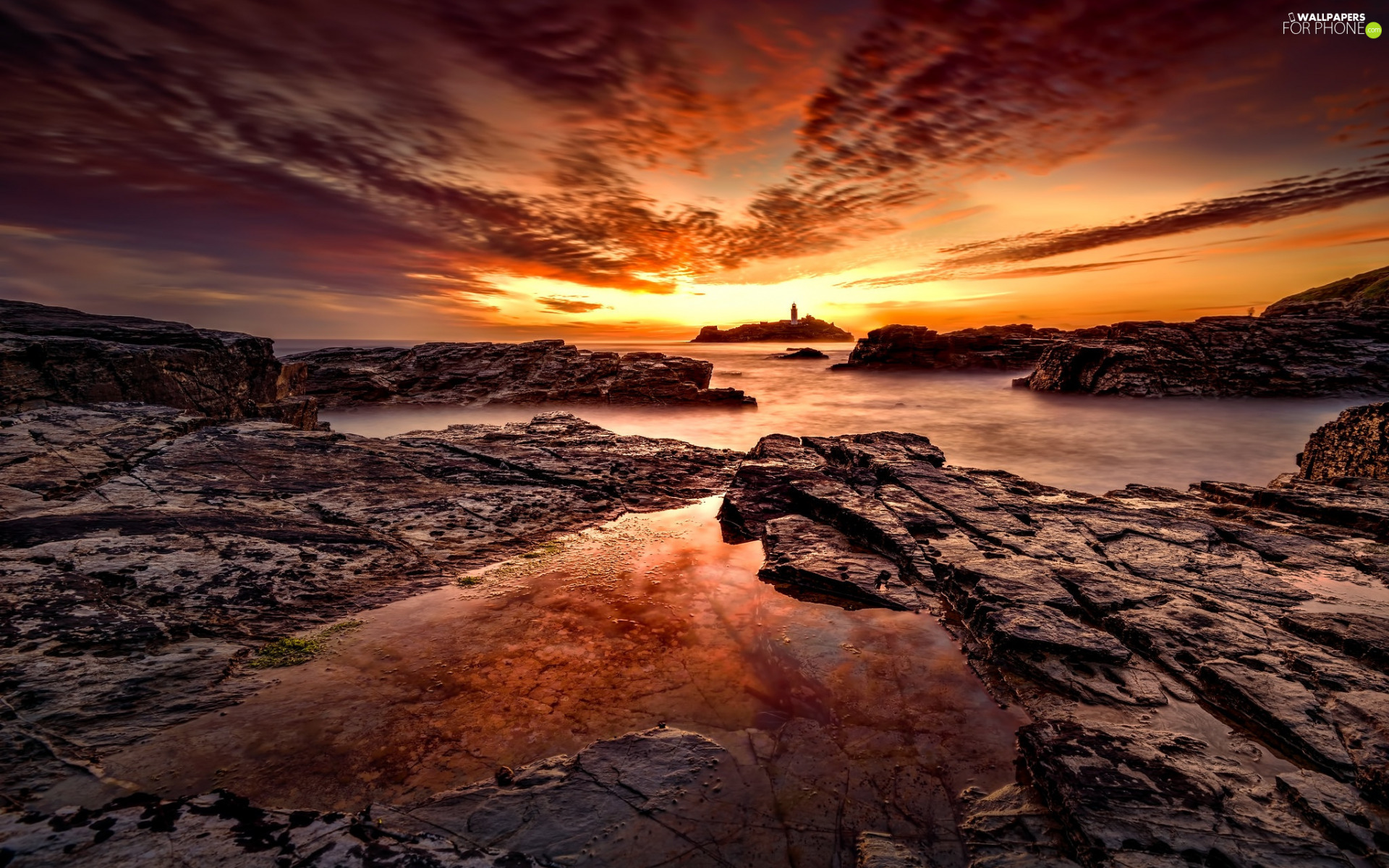 Stones, sea, Lighthouses, rocks, Great Sunsets