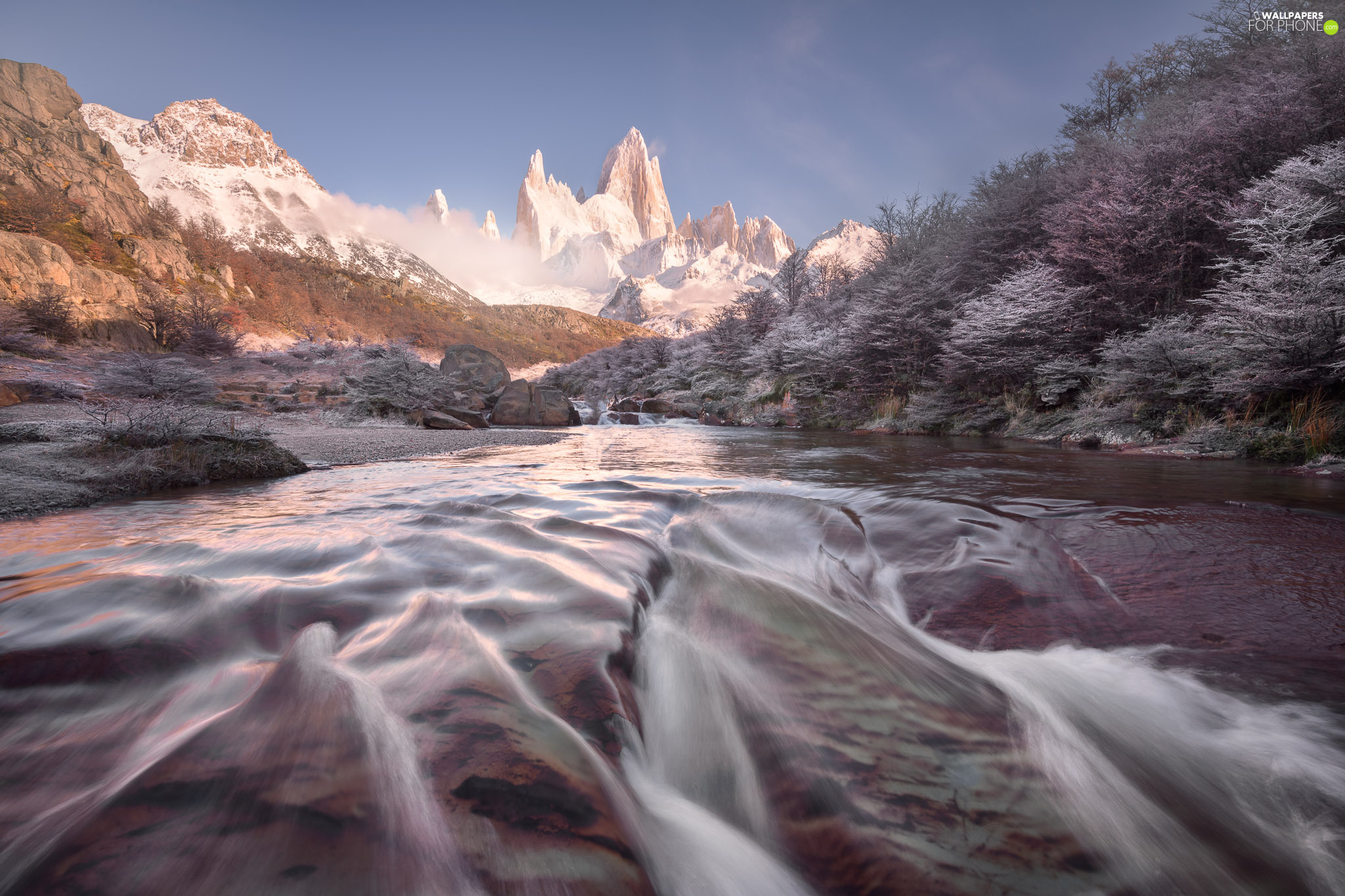 Fitz Roy Mountain, River, trees, Patagonia, viewes, Mountains, rocks, Argentina, Los Glaciares National Park, Andes Mountains