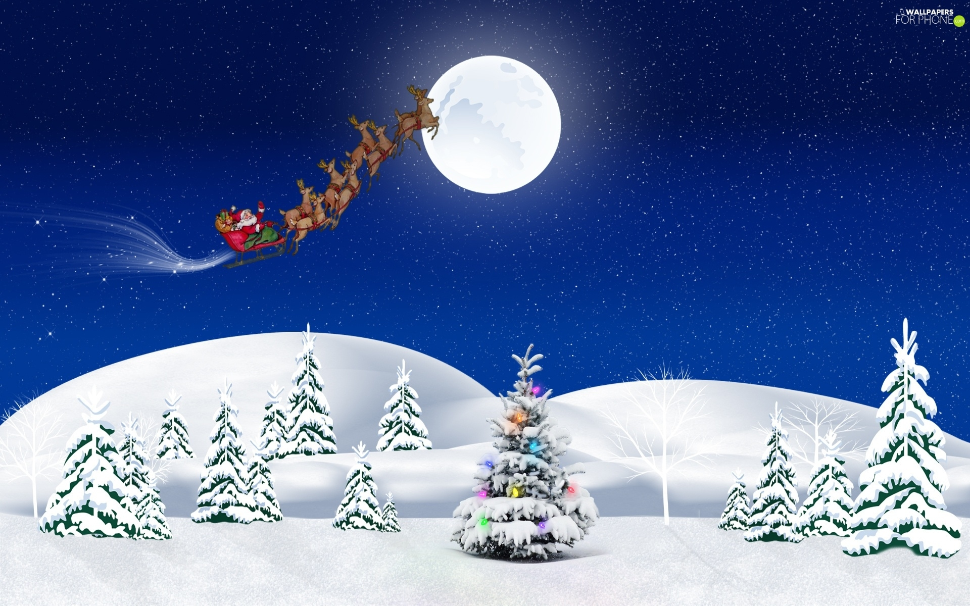 Santa, sleigh, birth, moon, God, christmas tree, Mountains, winter