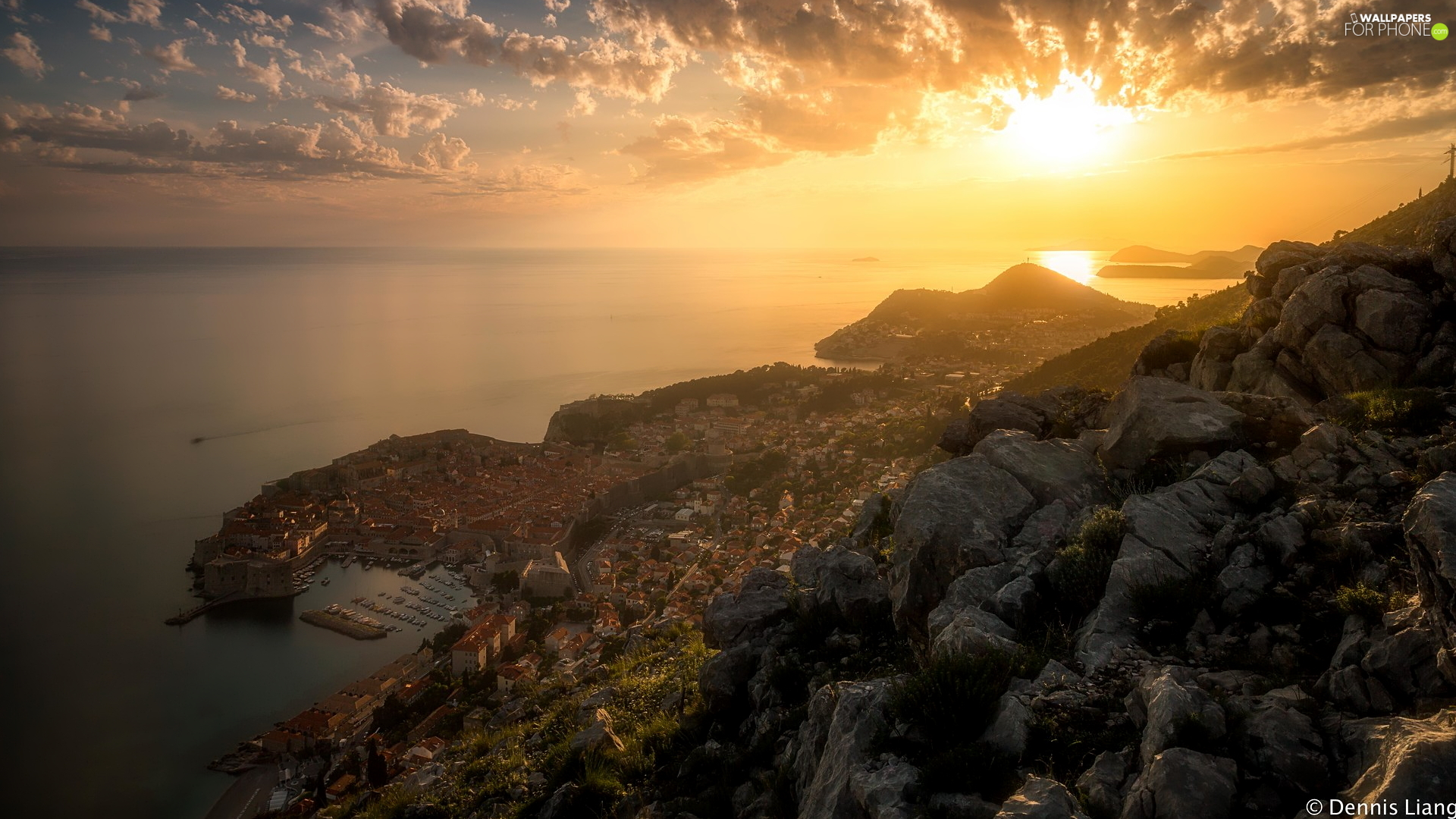 Mountains, Great Sunsets, Dubrovnik, Coartia, Town, Adriatic Sea