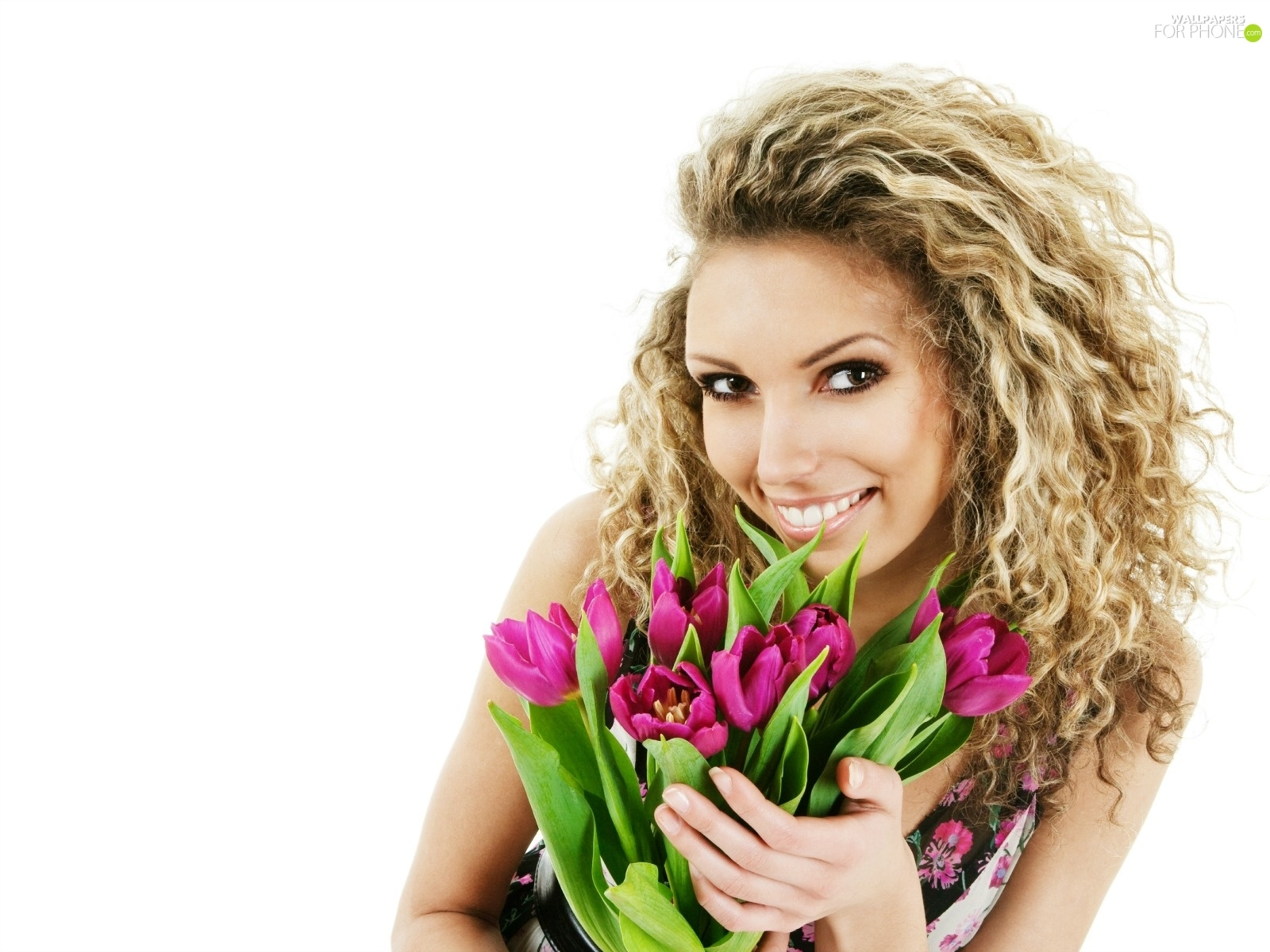 Blonde, tulips, Smile, bouquet