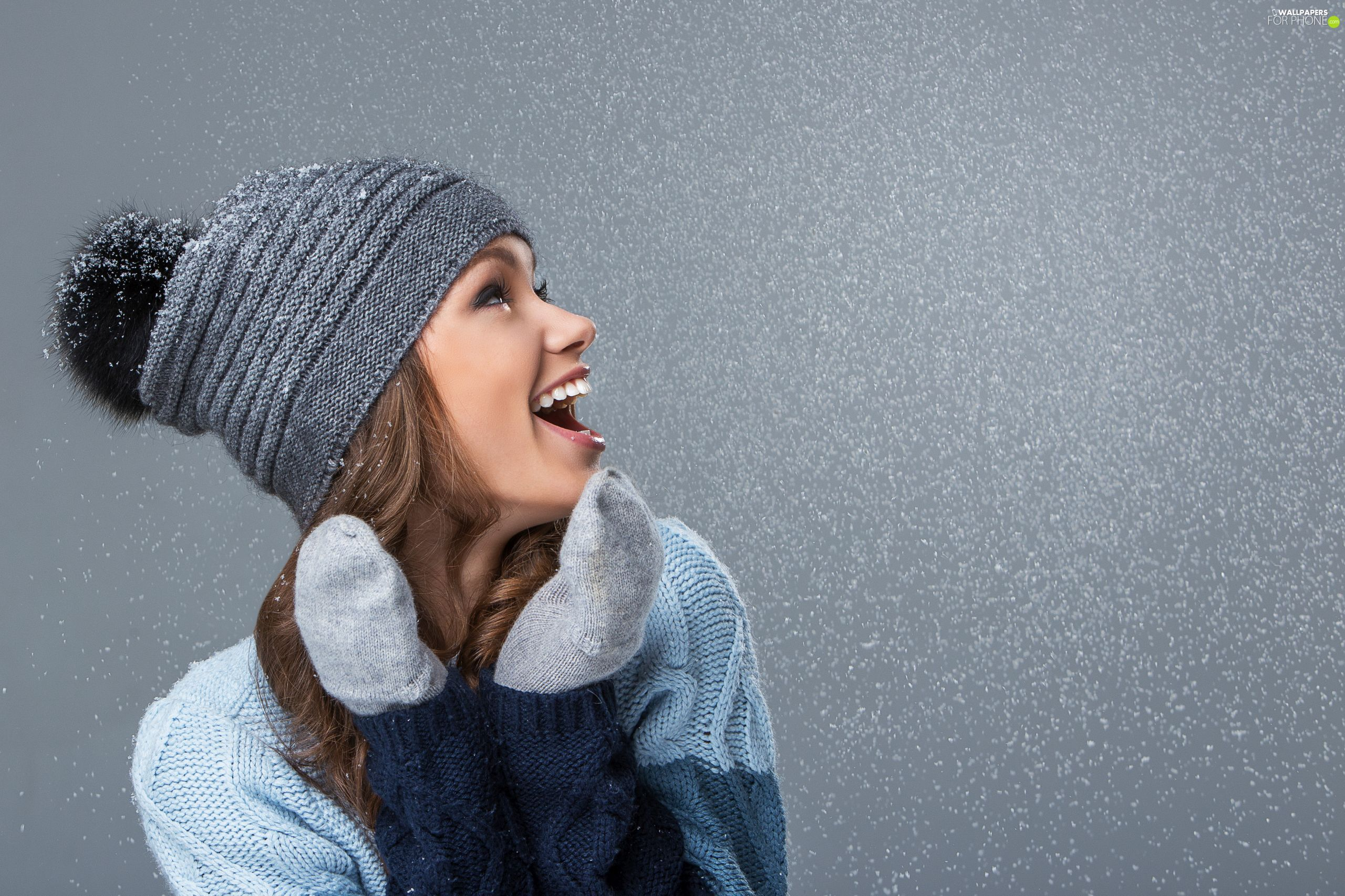Hat, girl, Gloves, snow, sweater, Smile