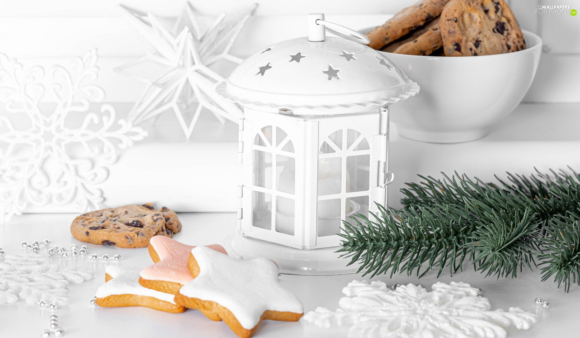 Cookies, Christmas, Twigs, lantern, festively decorated, Stars, spruce