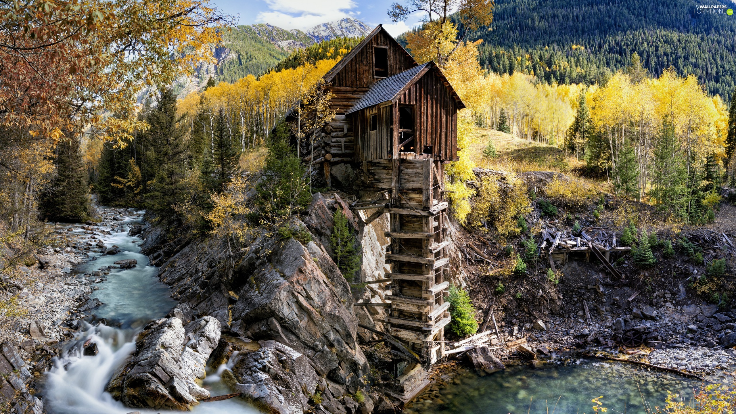 autumn, The United States, Crystal River, rocks, Crystal Mill, State of Colorado