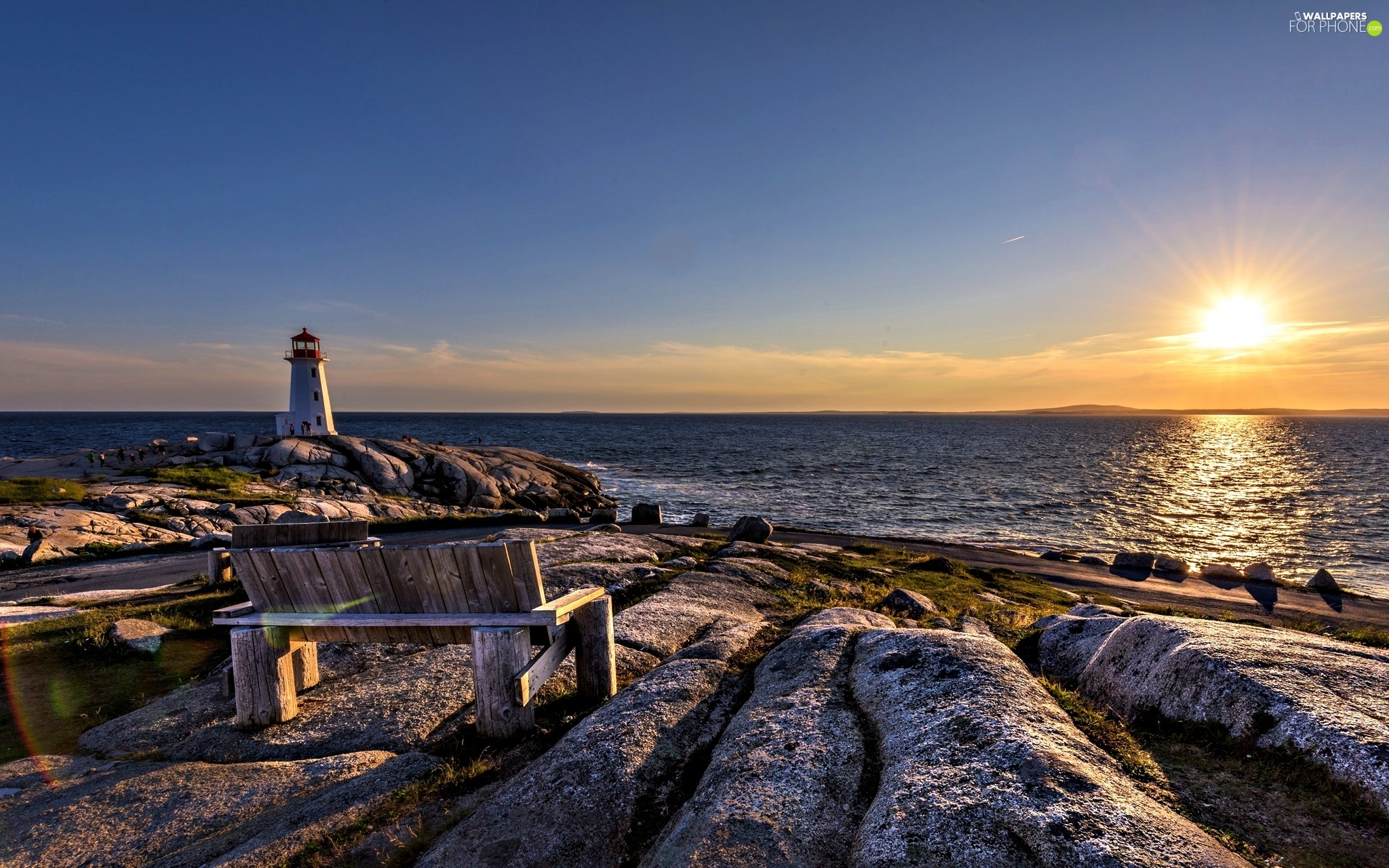 Bench, Lighthouses, sea, Stones rocks, Great Sunsets