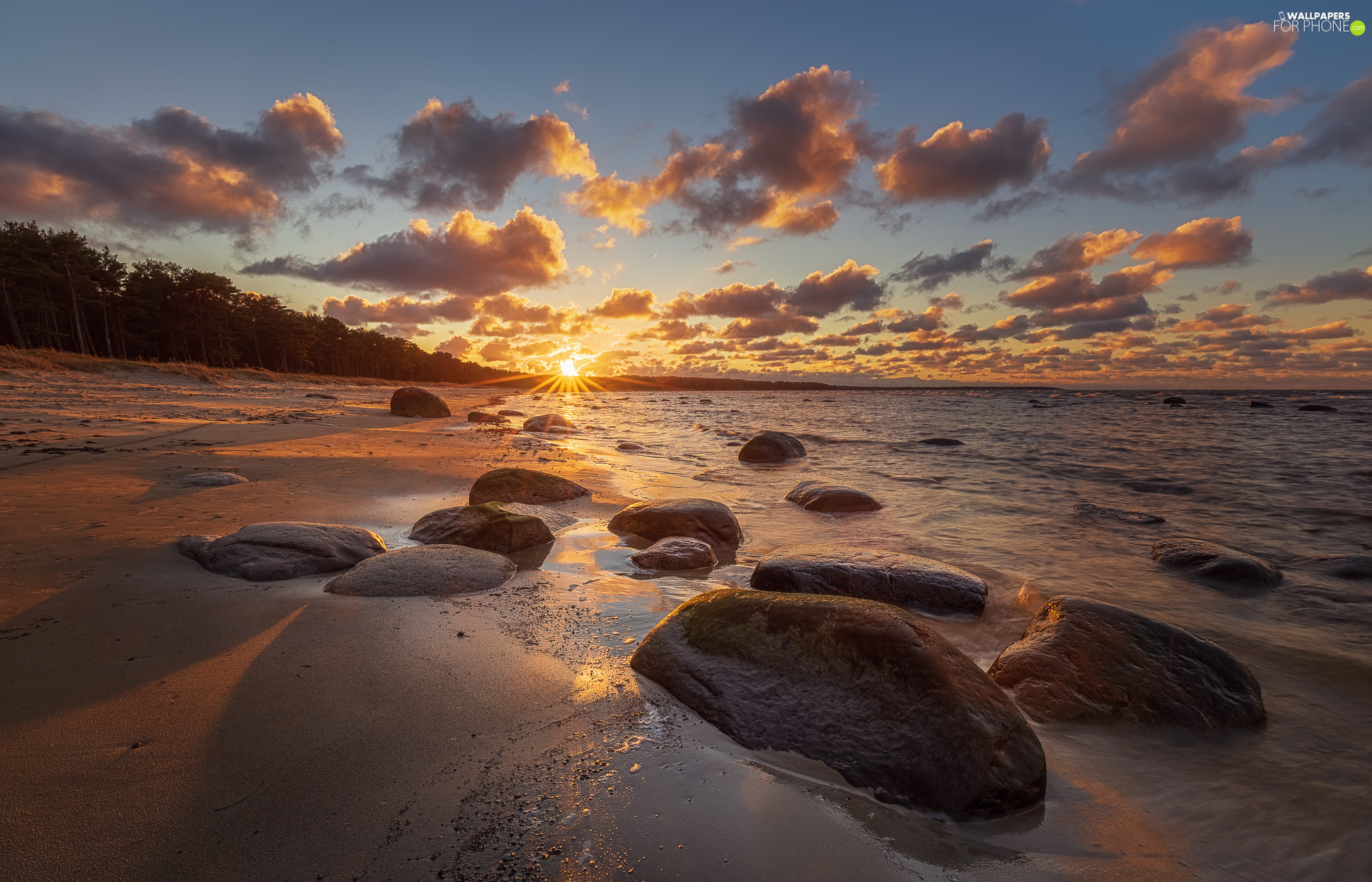 sea, Beaches, Sunrise, Stones
