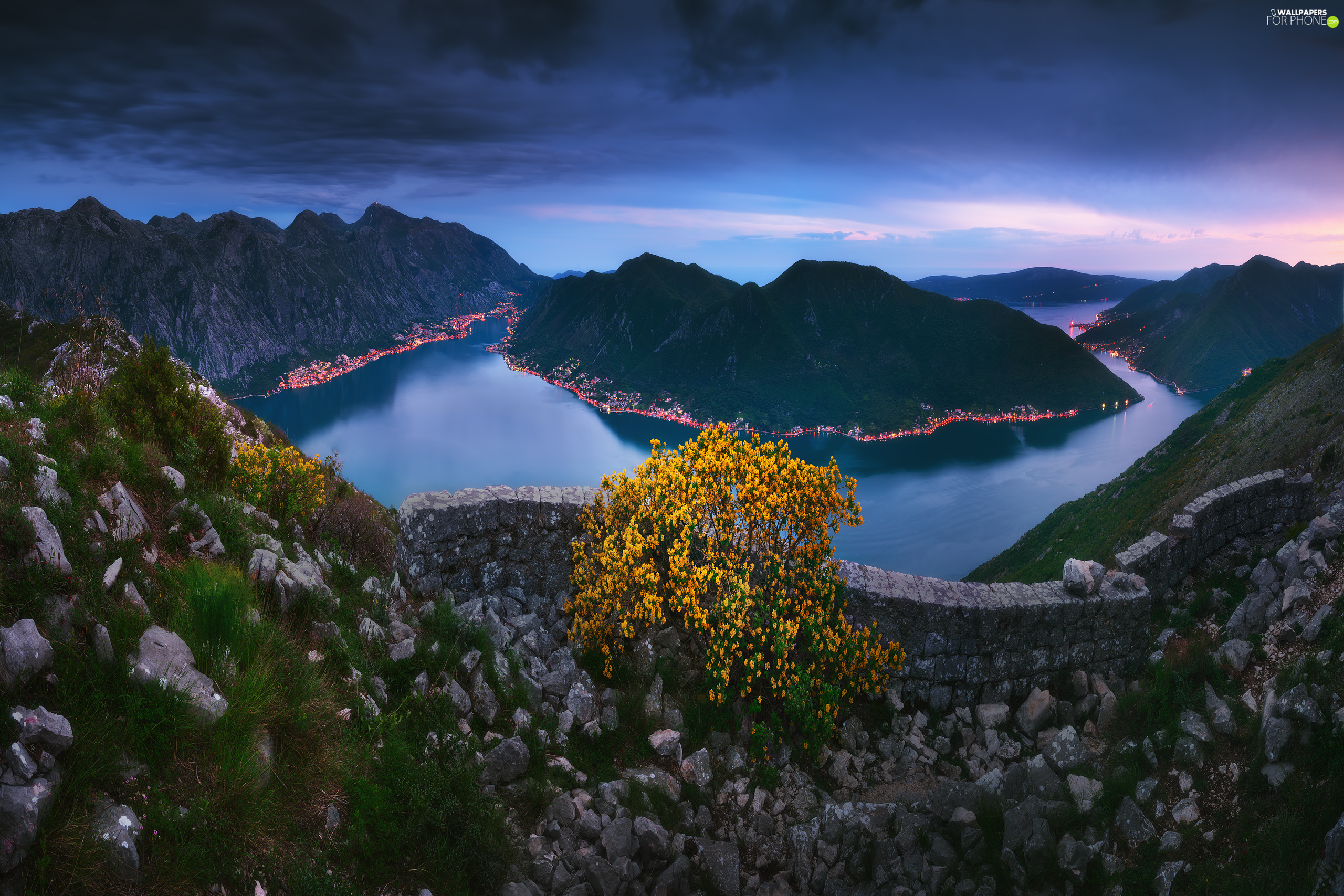 Bay of Kotor, Mountains, River, Montenegro, Stones, VEGETATION, Night, light, trees