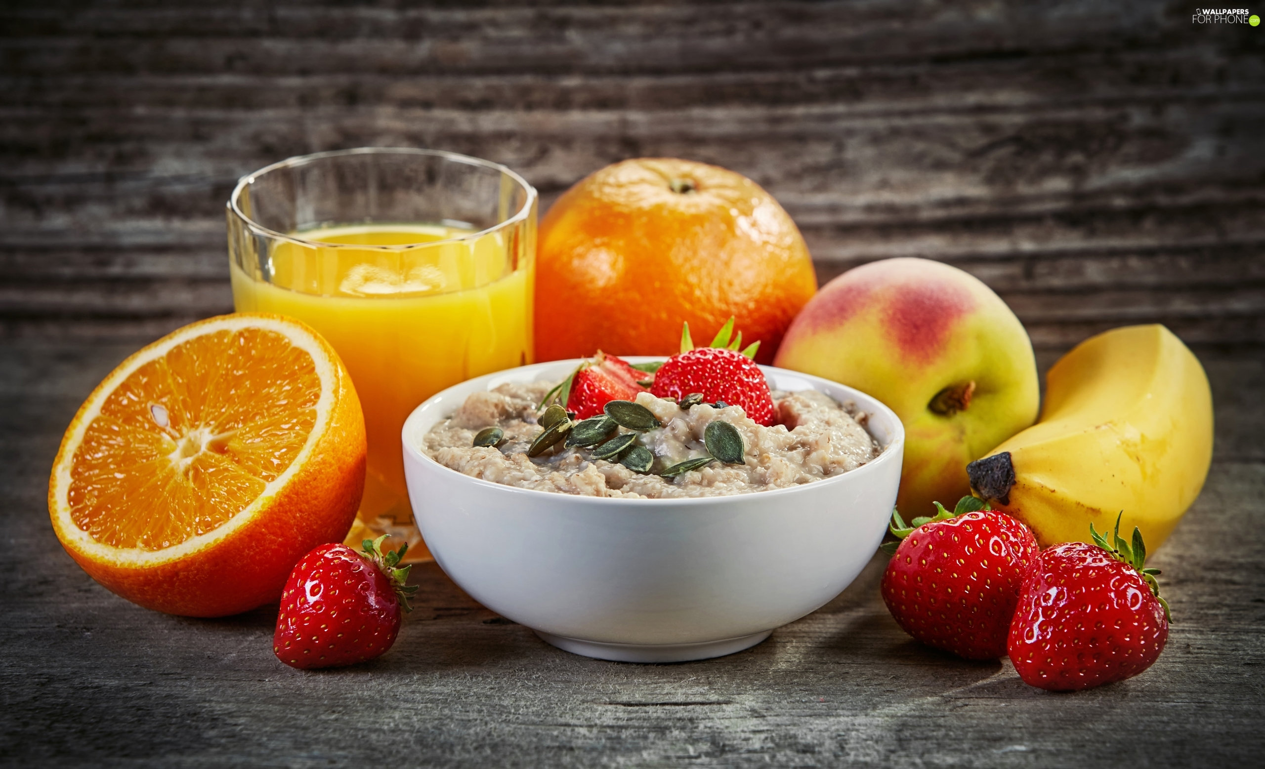 orange, bowl, Banana, oatmeal, composition, strawberries, juice