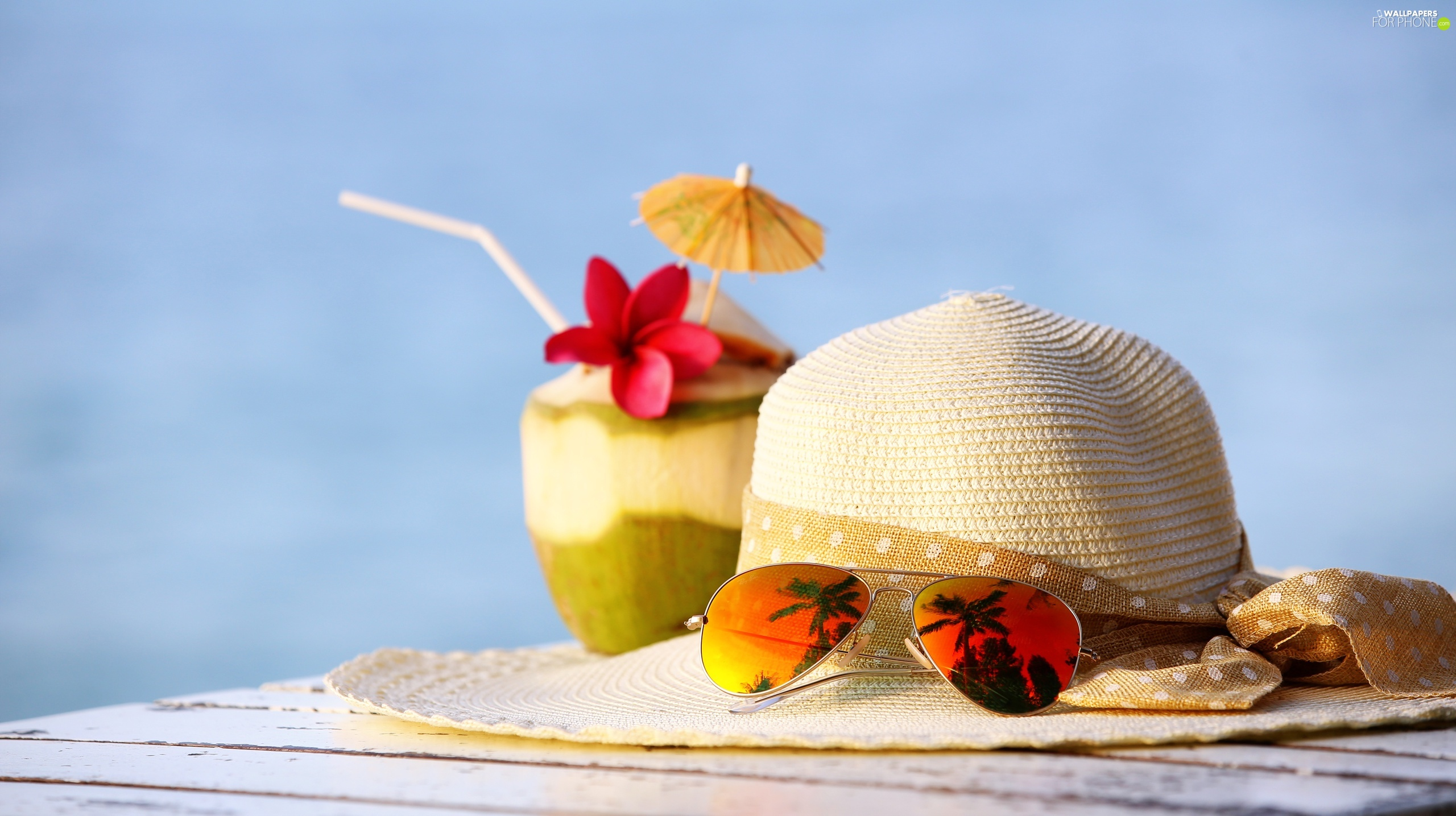 holiday, summer, Glasses, Coconut, Hat