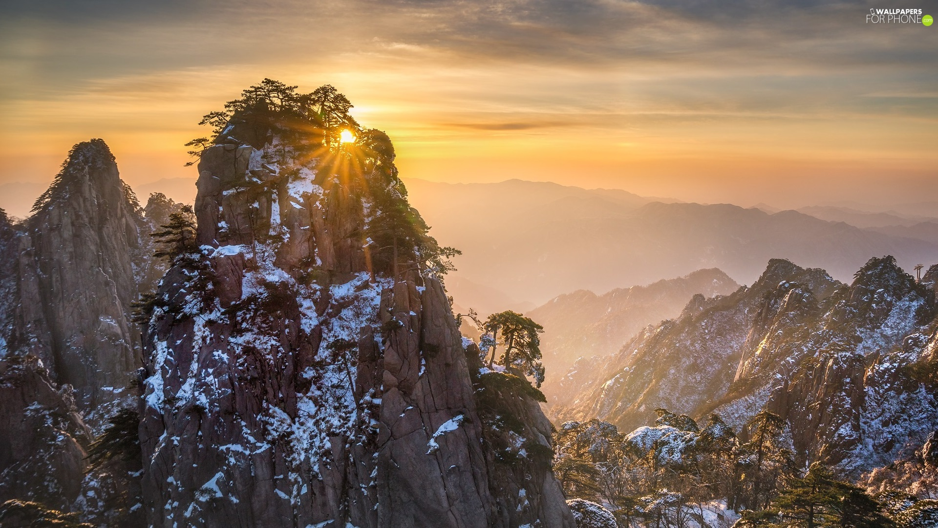 trees, Mountains, Fog, Sunrise, viewes, rocks