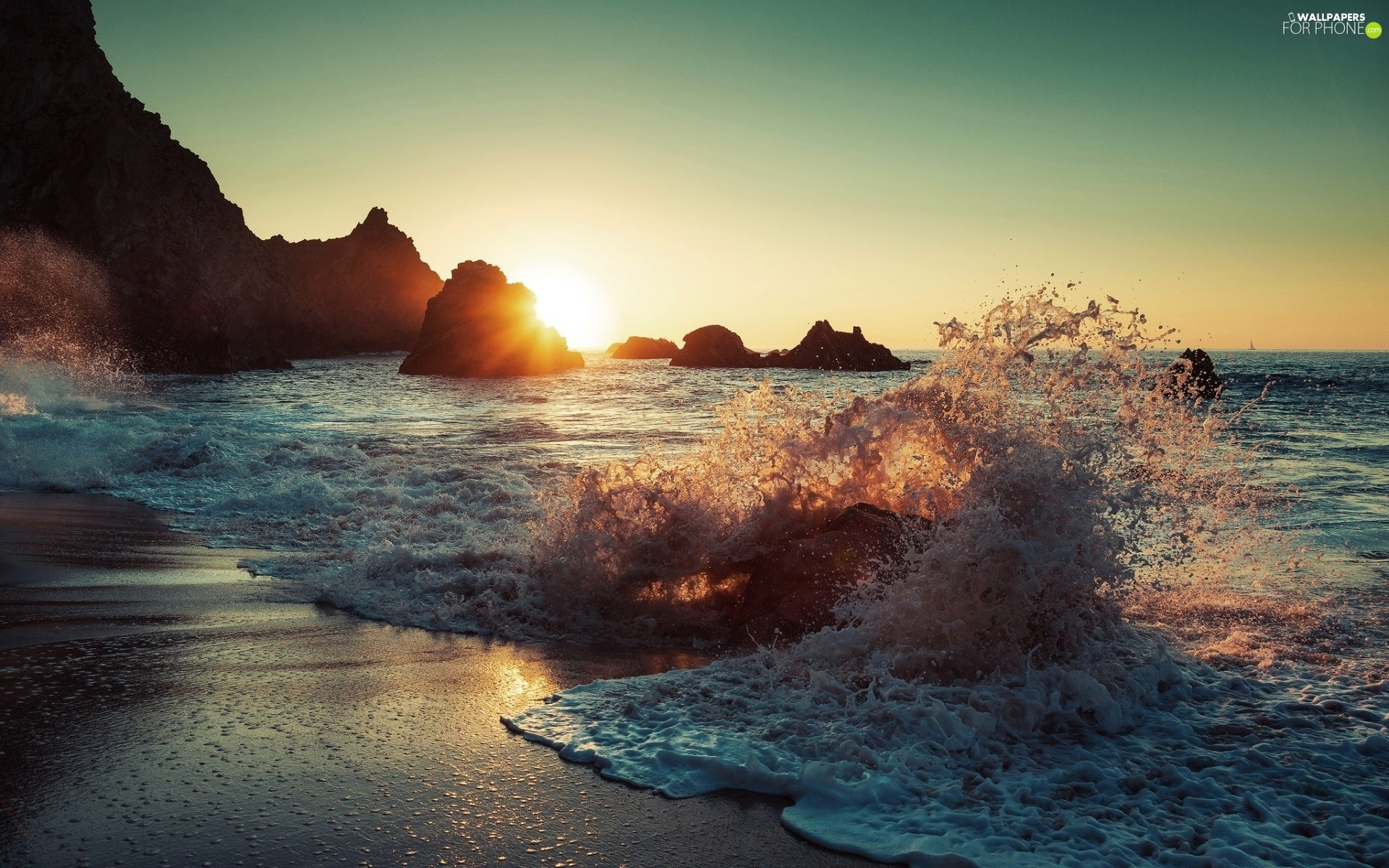 sea, rocks, Sunrise, Waves