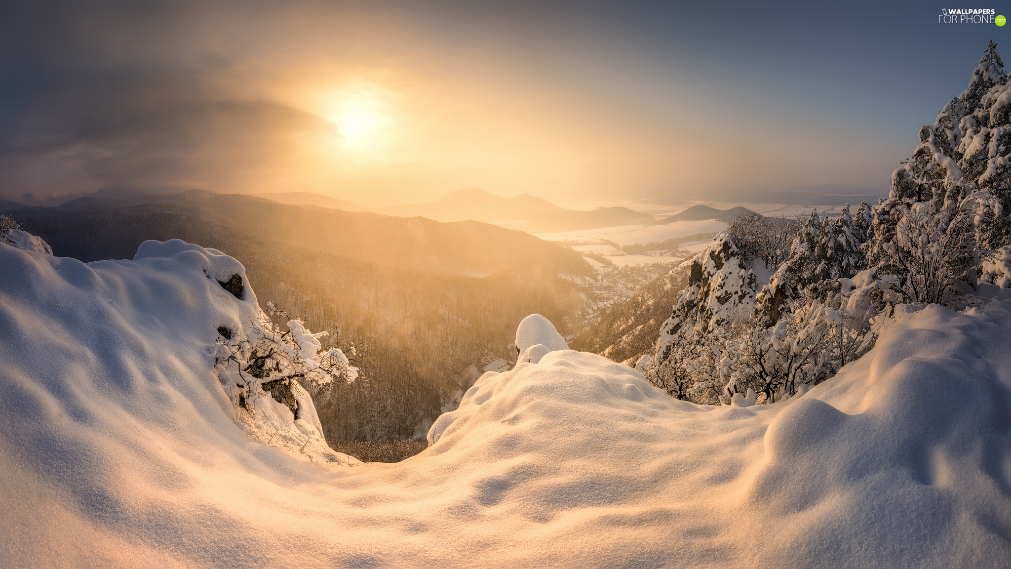 Snowy, Mountains, viewes, Sunrise, trees, winter