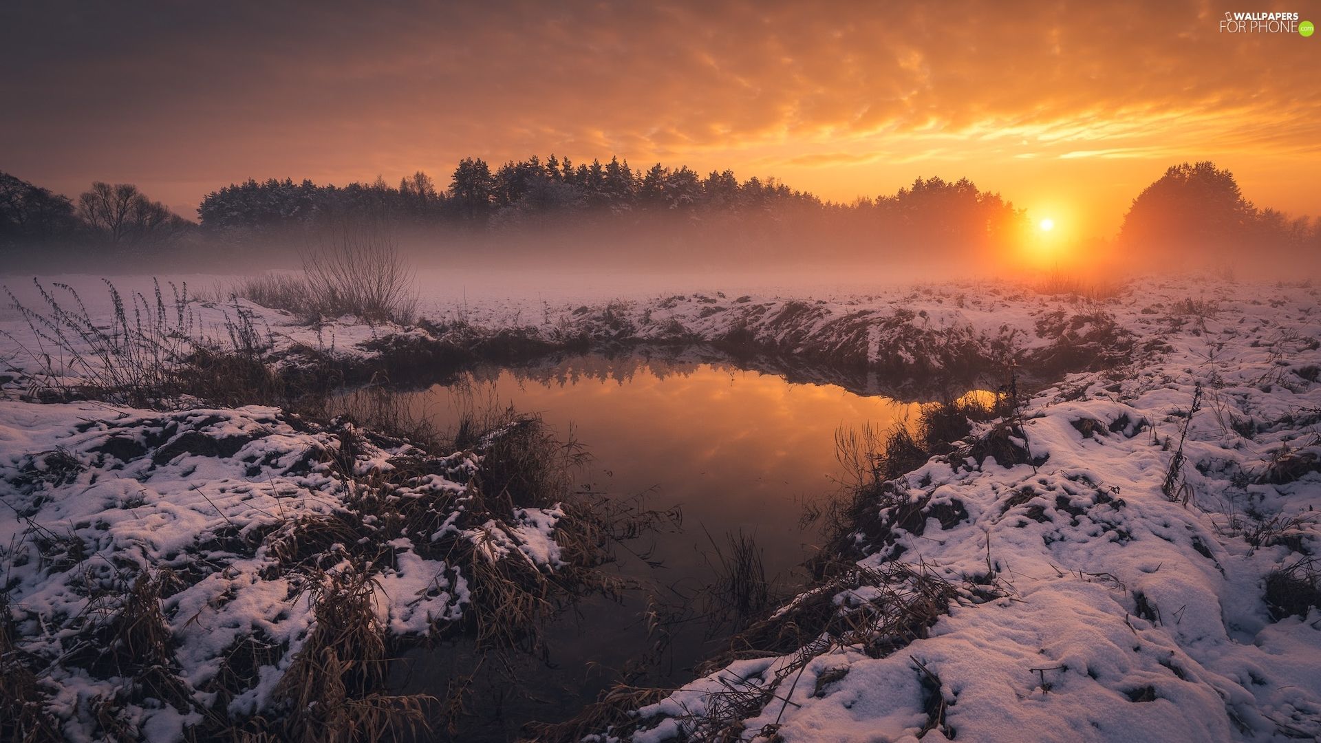 Great Sunsets, River, snow, winter