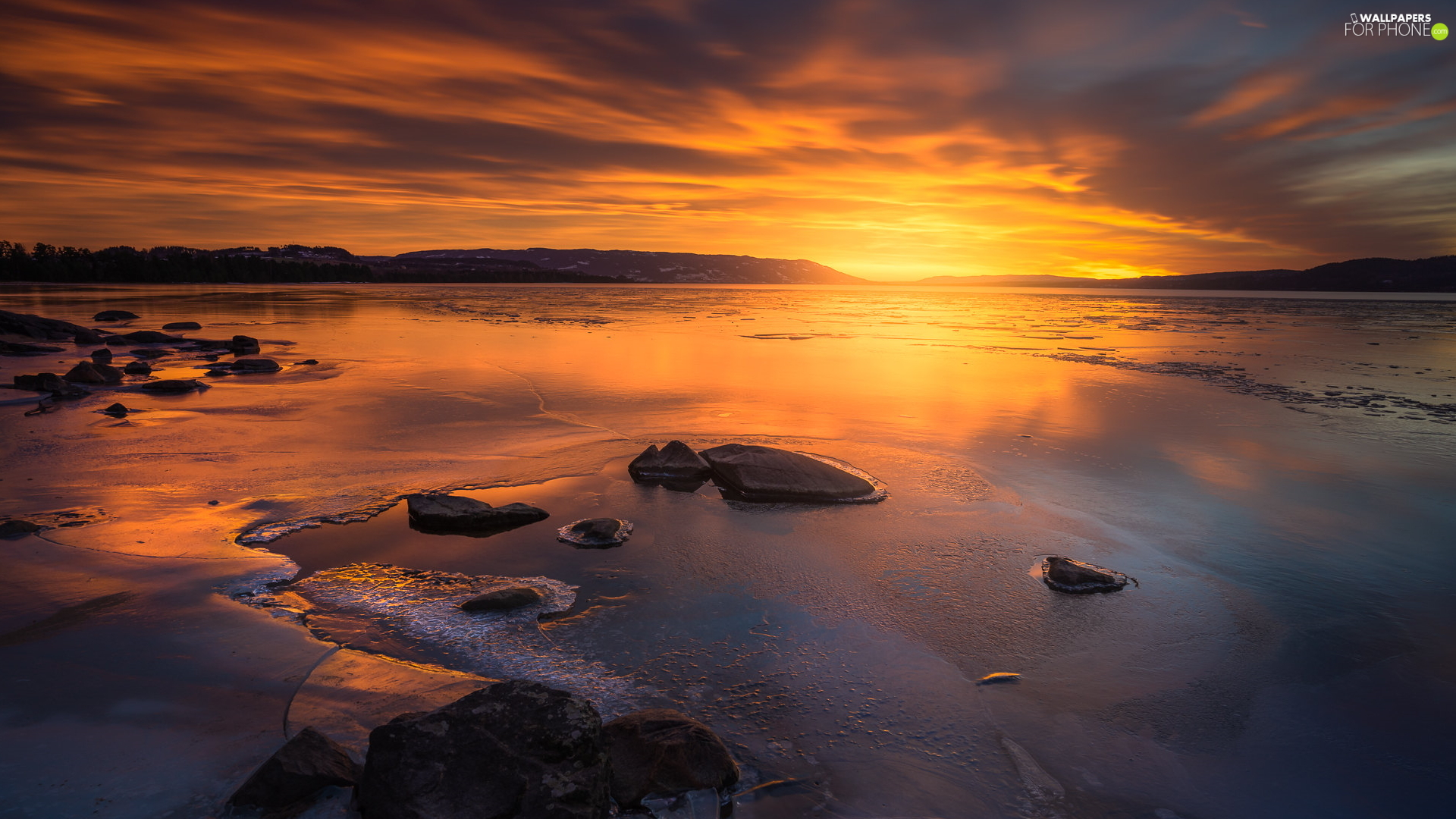 Great Sunsets, Stones, Norway, lake