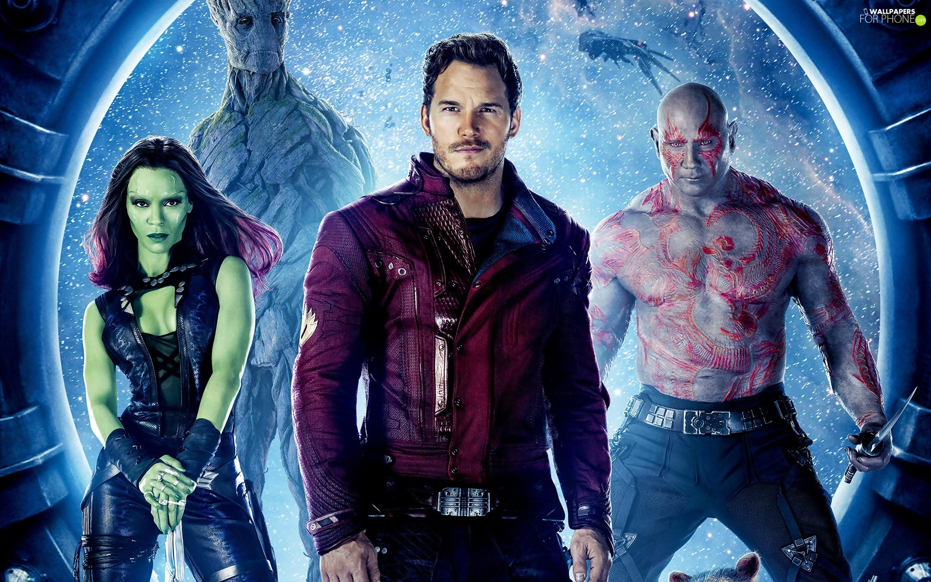 Chris Pratt, Dave Bautista, Guardians of the galaxy, Zoe Saldana, movie