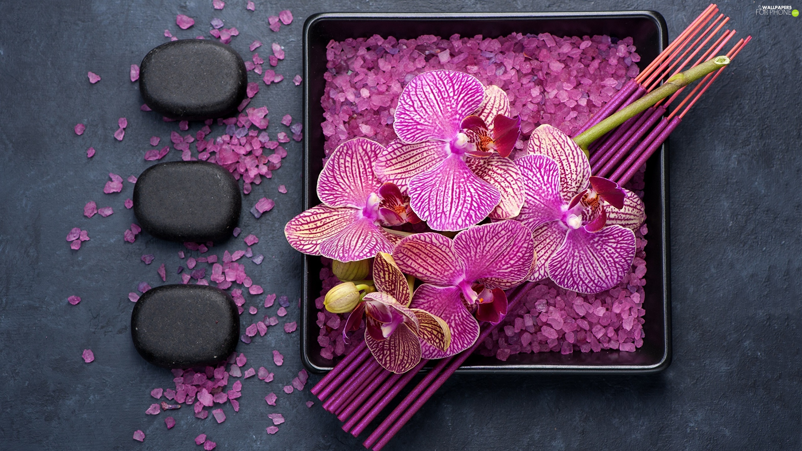 orchids, salt, Incense, crystals, Stones, Flowers, Spa, Tray