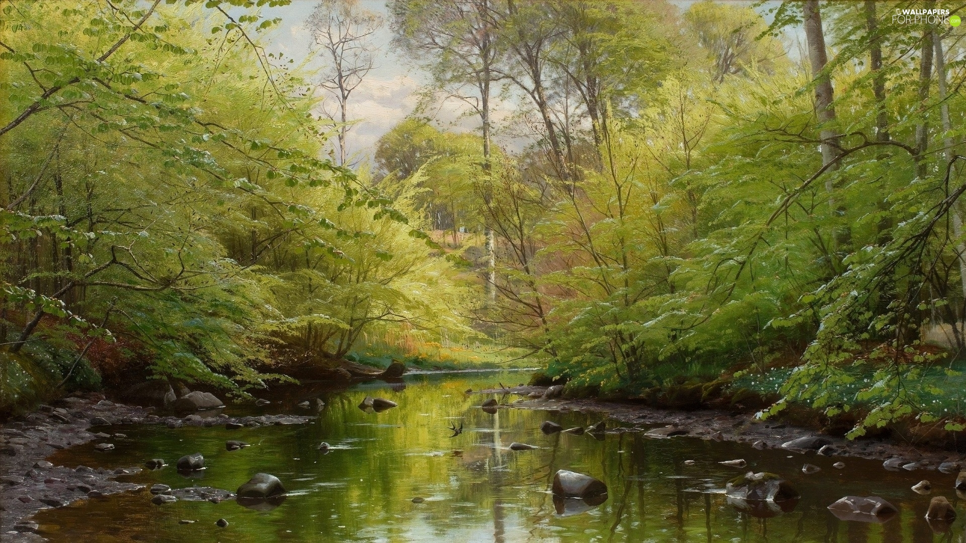 trees, picture, River, forest, Peder Mork Monsted, viewes, Stones