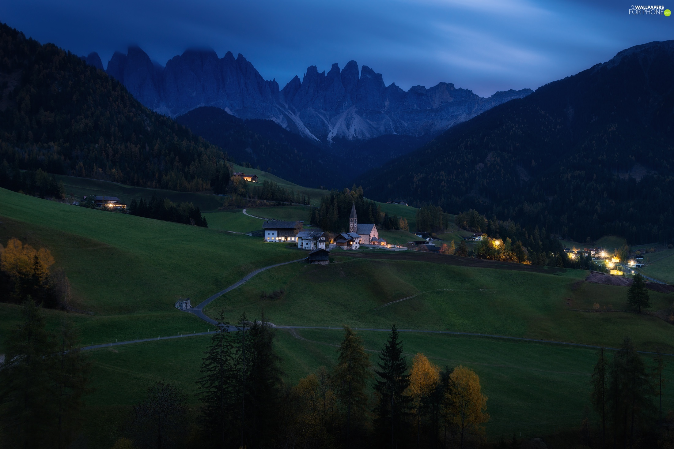 Mountains, Italy, woods, Dolomites, viewes, twilight, Church, Village of Santa Maddalena, Val di Funes Valley, Houses, trees