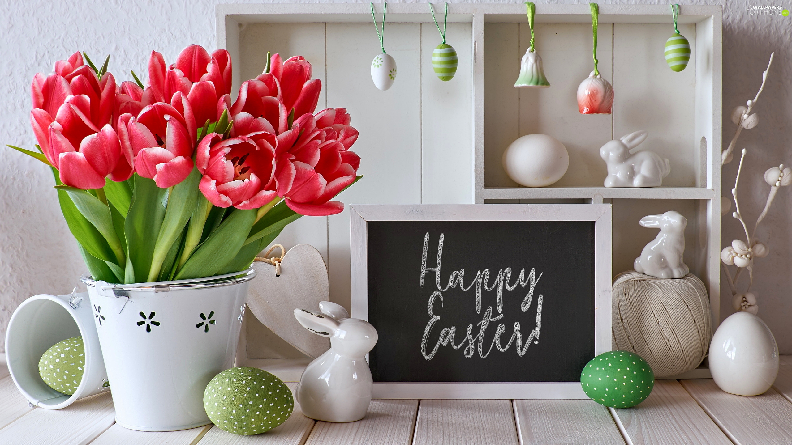 Happy Easter, Vase, rabbits, composition, table, Tulips, eggs, Easter, pendants, text