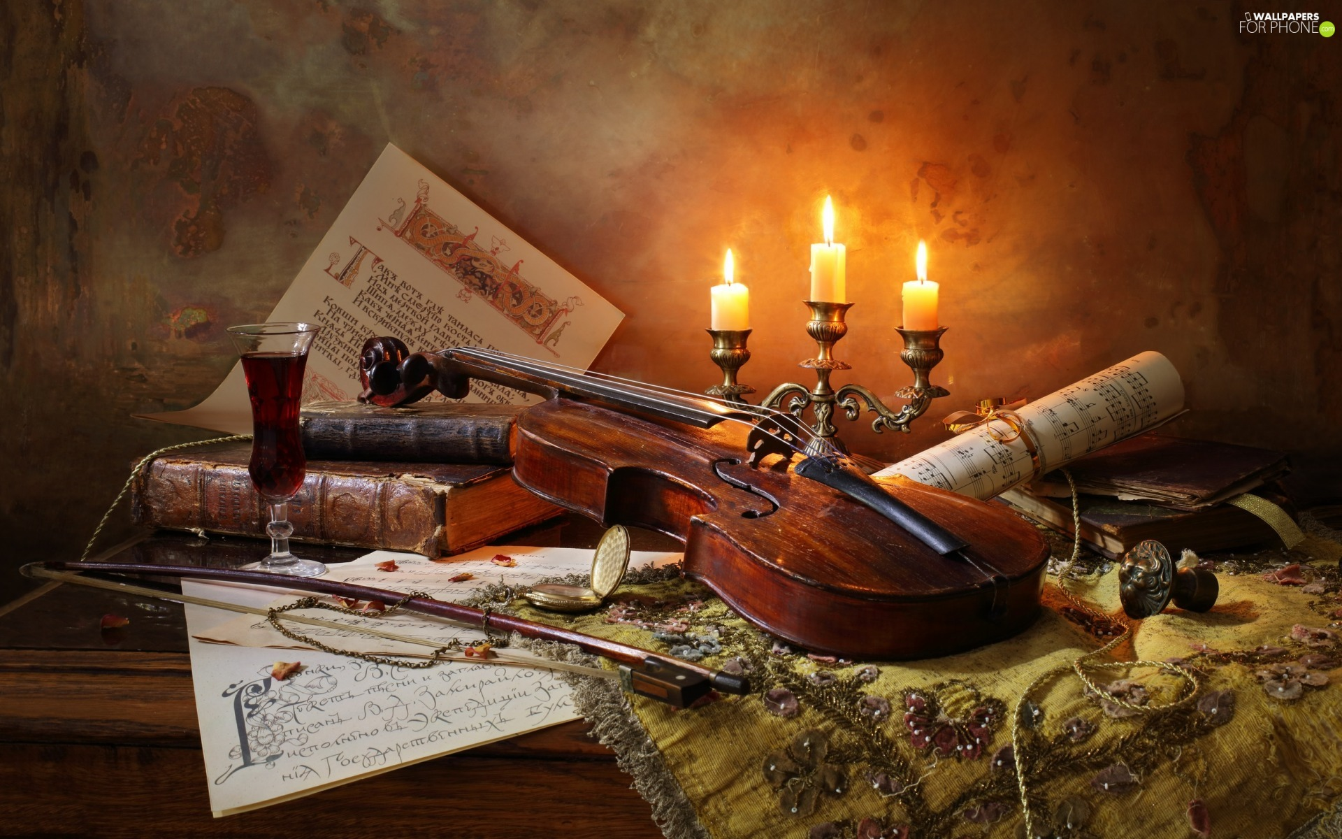 bow, composition, Tunes, Books, Candles, violin