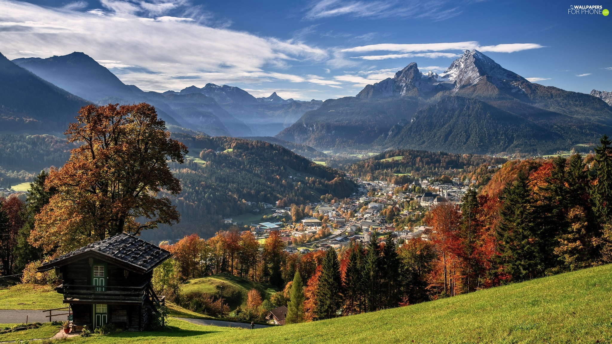 Houses, Mountains, trees, Valley, autumn, Town, viewes