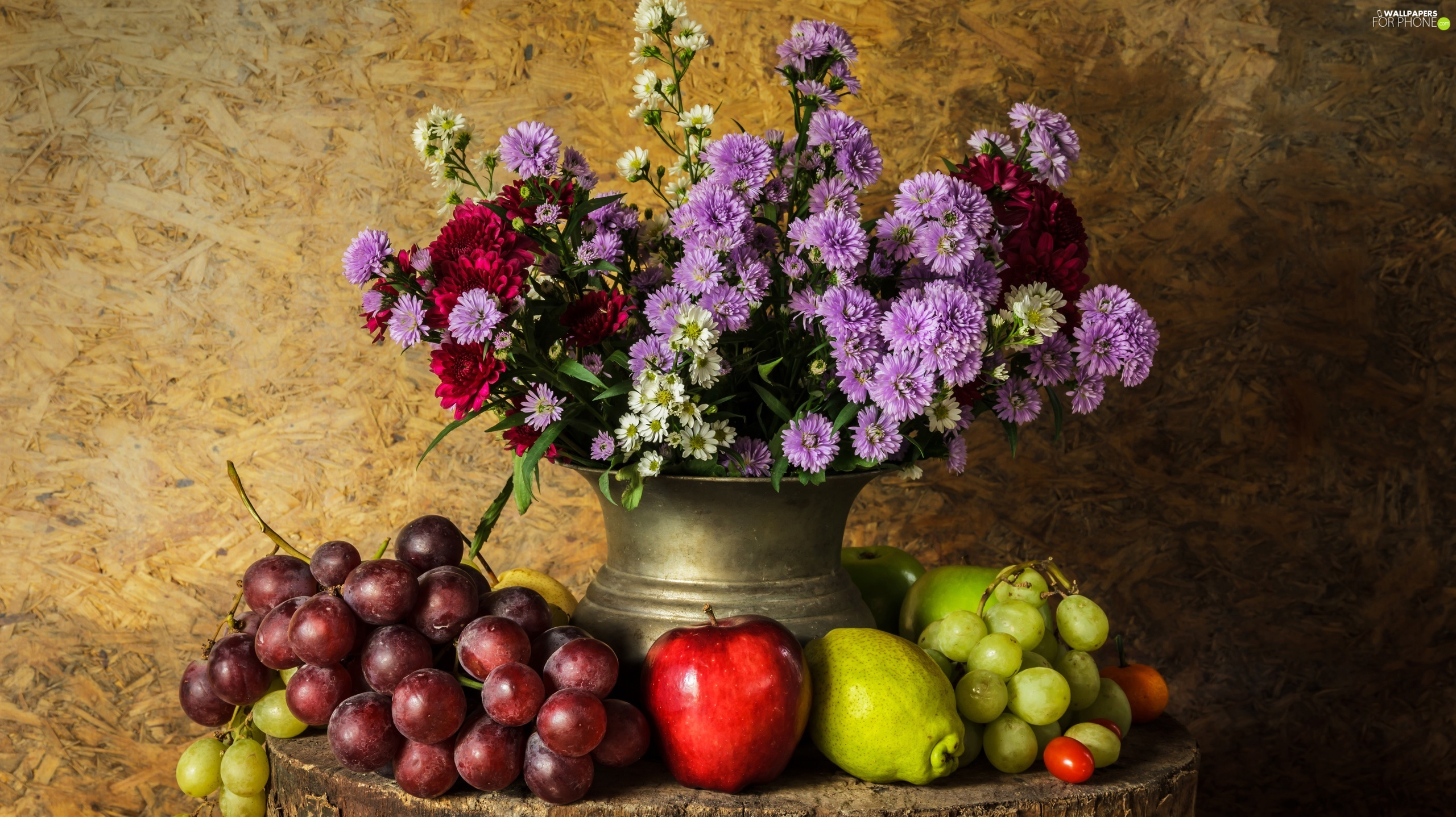 Vase, Fruits, composition, Grapes, Truck concrete mixer, Aster, Flowers, apples