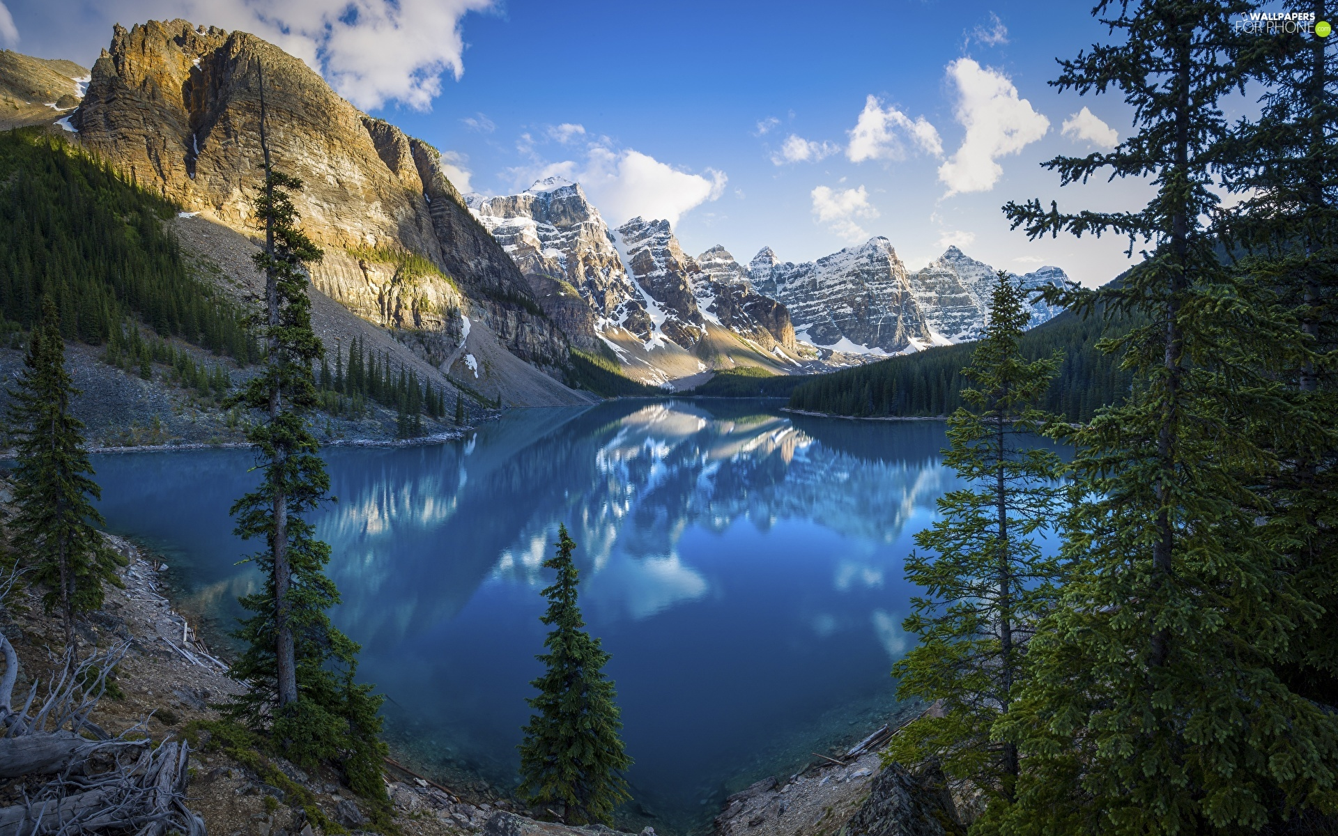 Mountains, Canada, lake, clouds, reflection, Spruces, viewes, Province of Alberta, Banff National Park, trees, Moraine Lake
