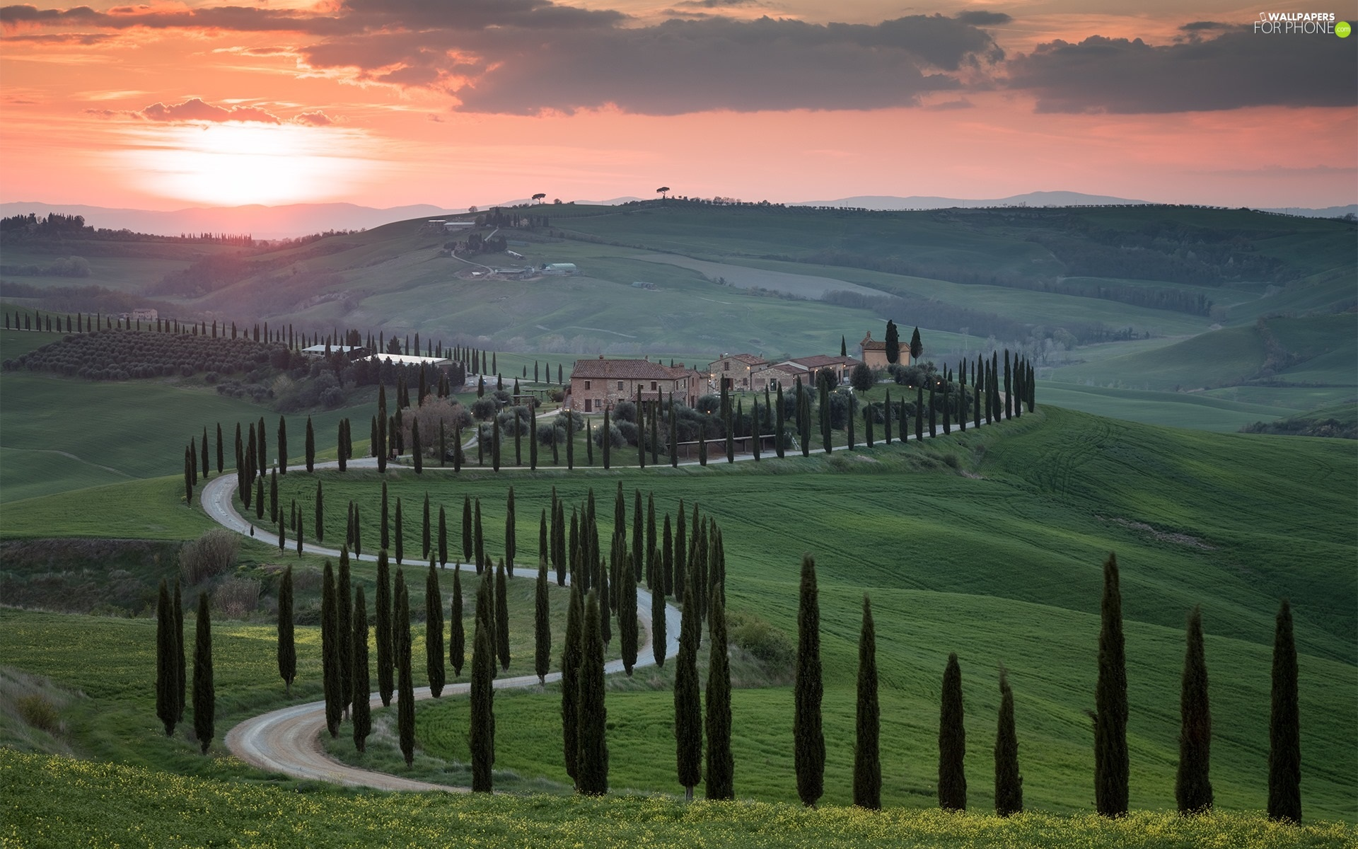 Houses, Way, clouds, trees, cypresses, Italy, Tuscany, viewes