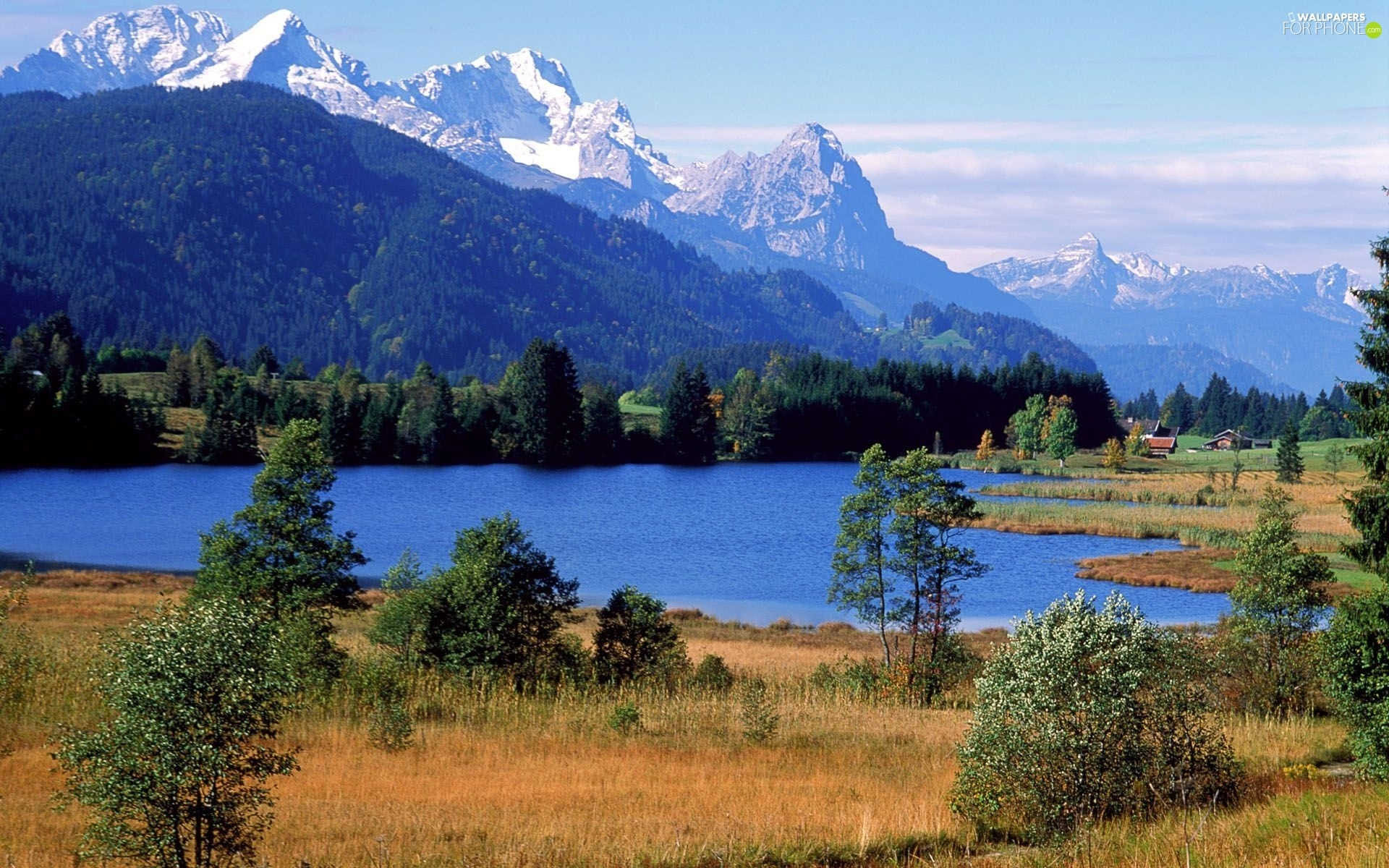 lake, trees, viewes, Mountains