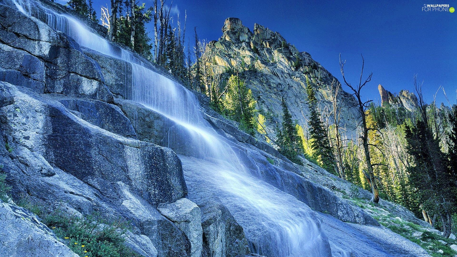 viewes, Sky, waterfall, trees, Mountains