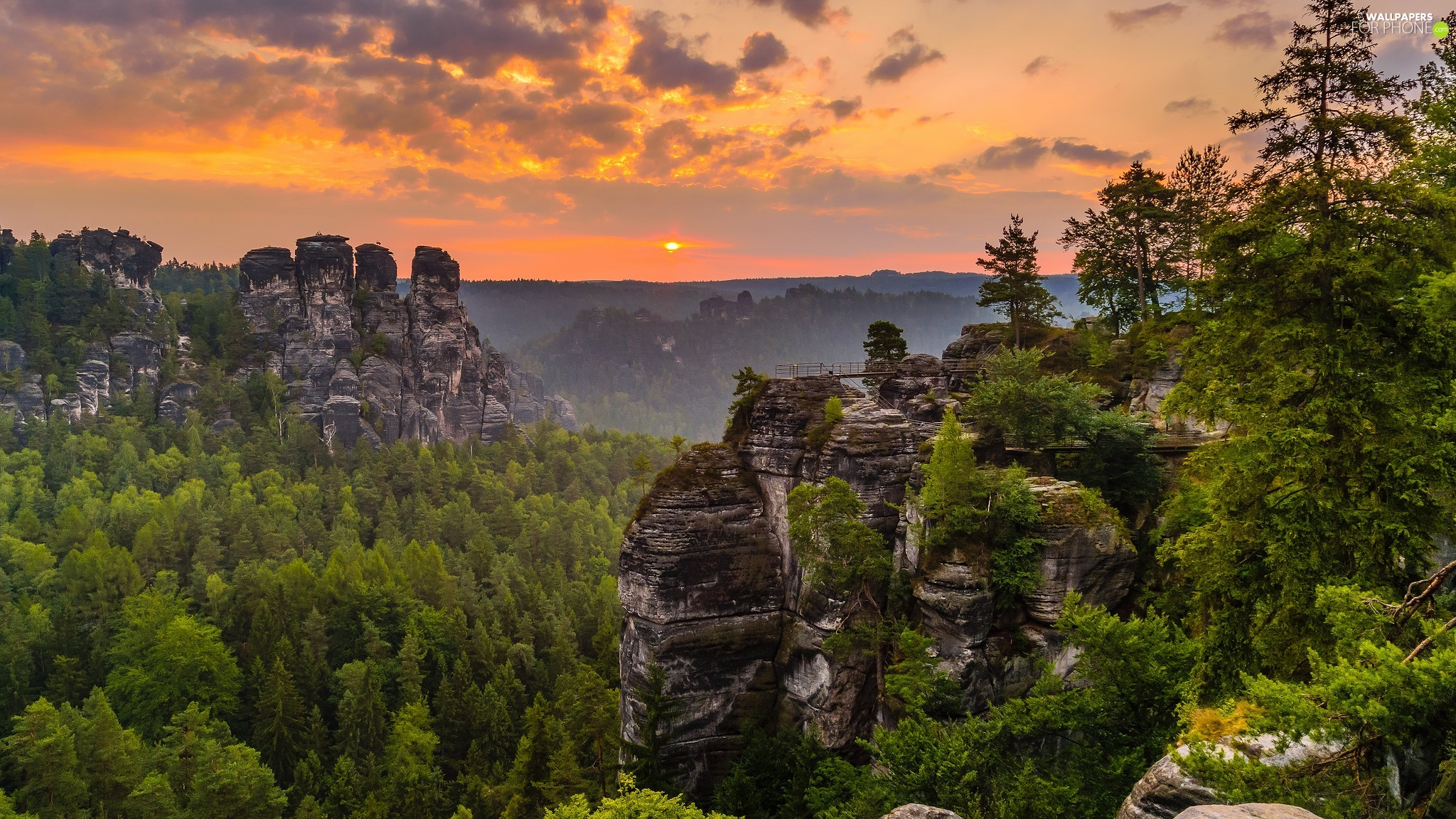 viewes, D???nsk? vrchovina, Saxon Switzerland National Park, trees, rocks, Great Sunsets, Germany