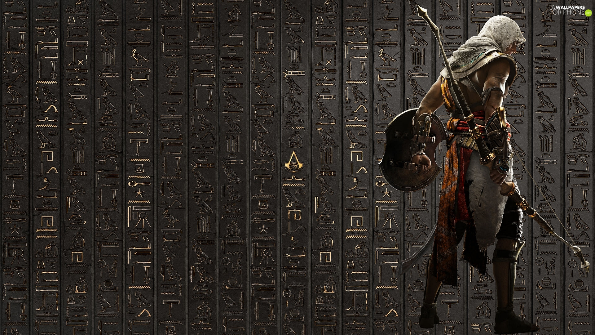 Assassins Creed Origins, wall, Hieroglyphics, Bayek