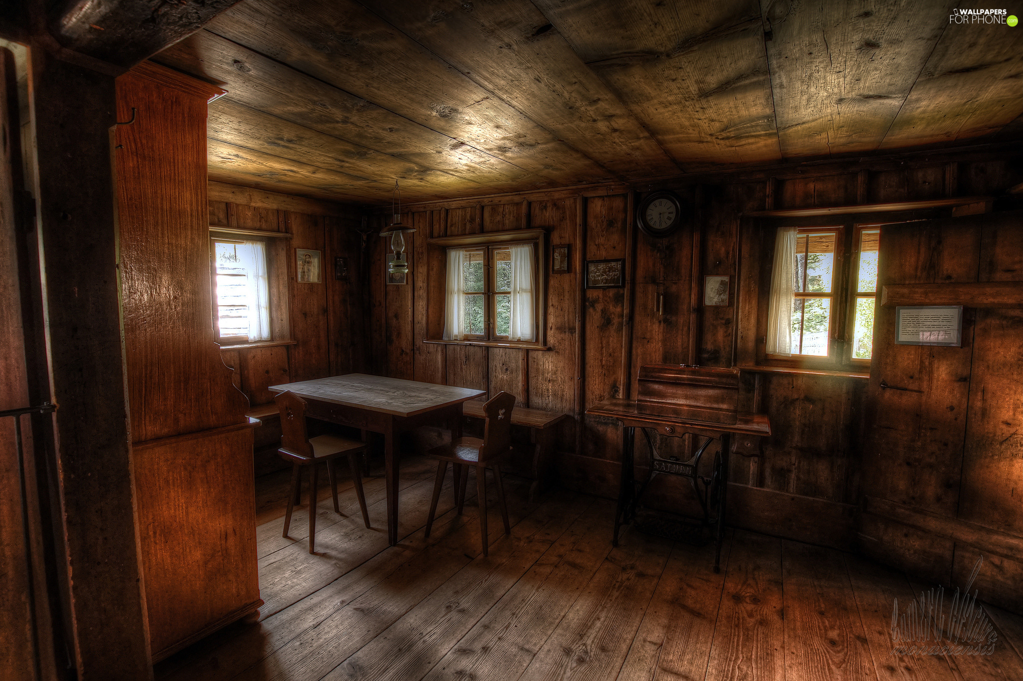 Windows, Table, wood, Stool, Room, Sewing Machine, walls