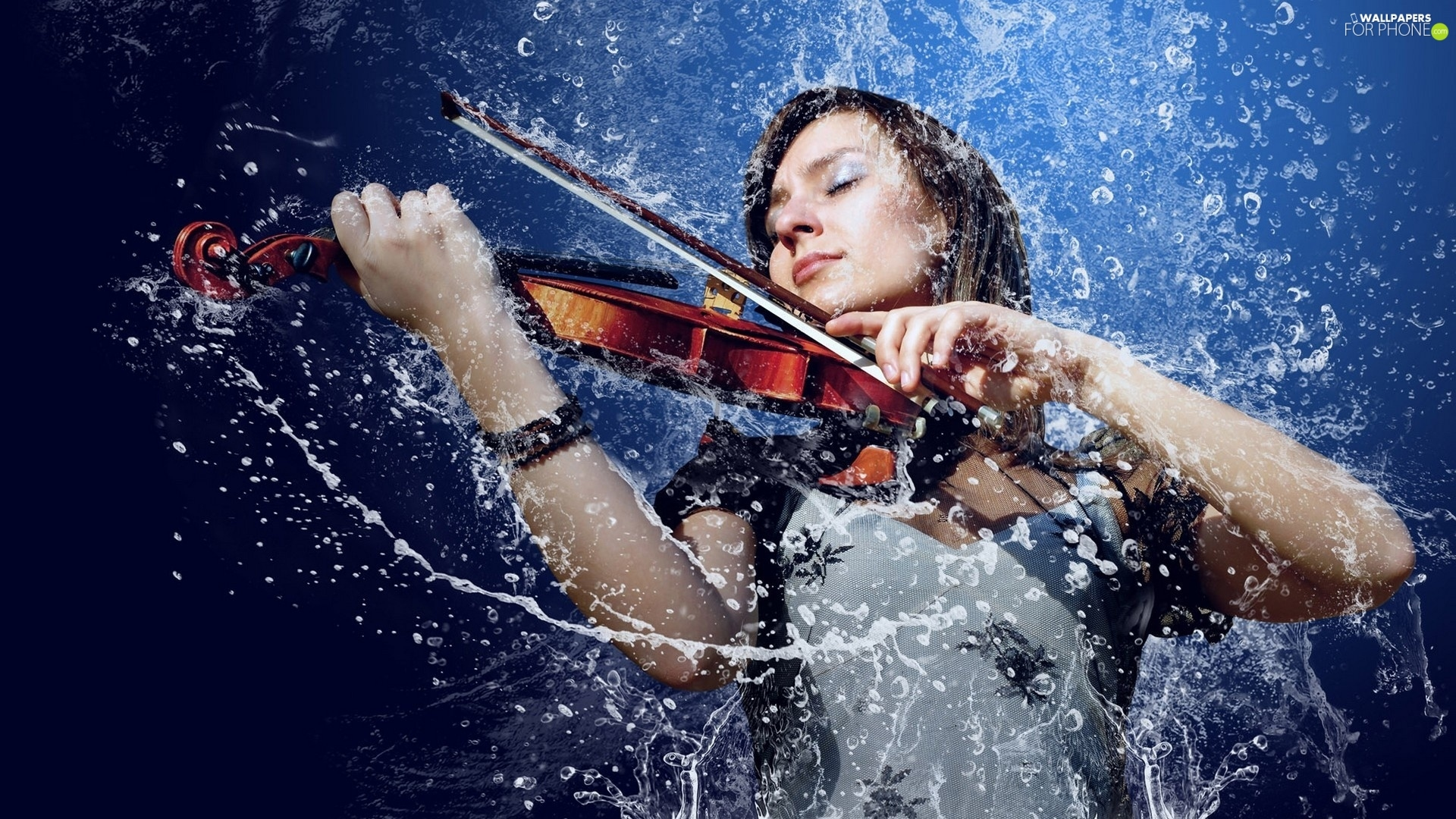 water, girl, Fiddle