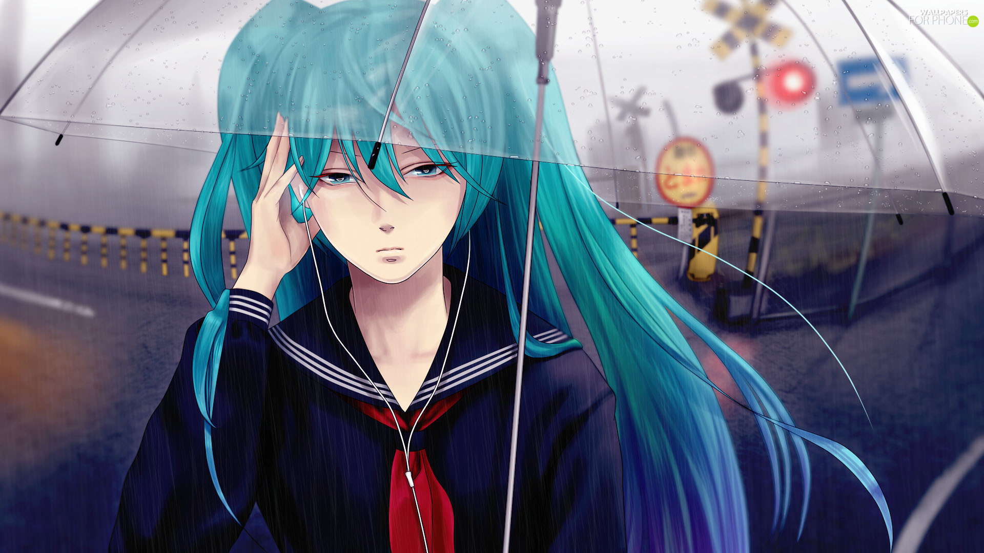 way, railway, Hatsune Miku, Umbrella, Vocaloid
