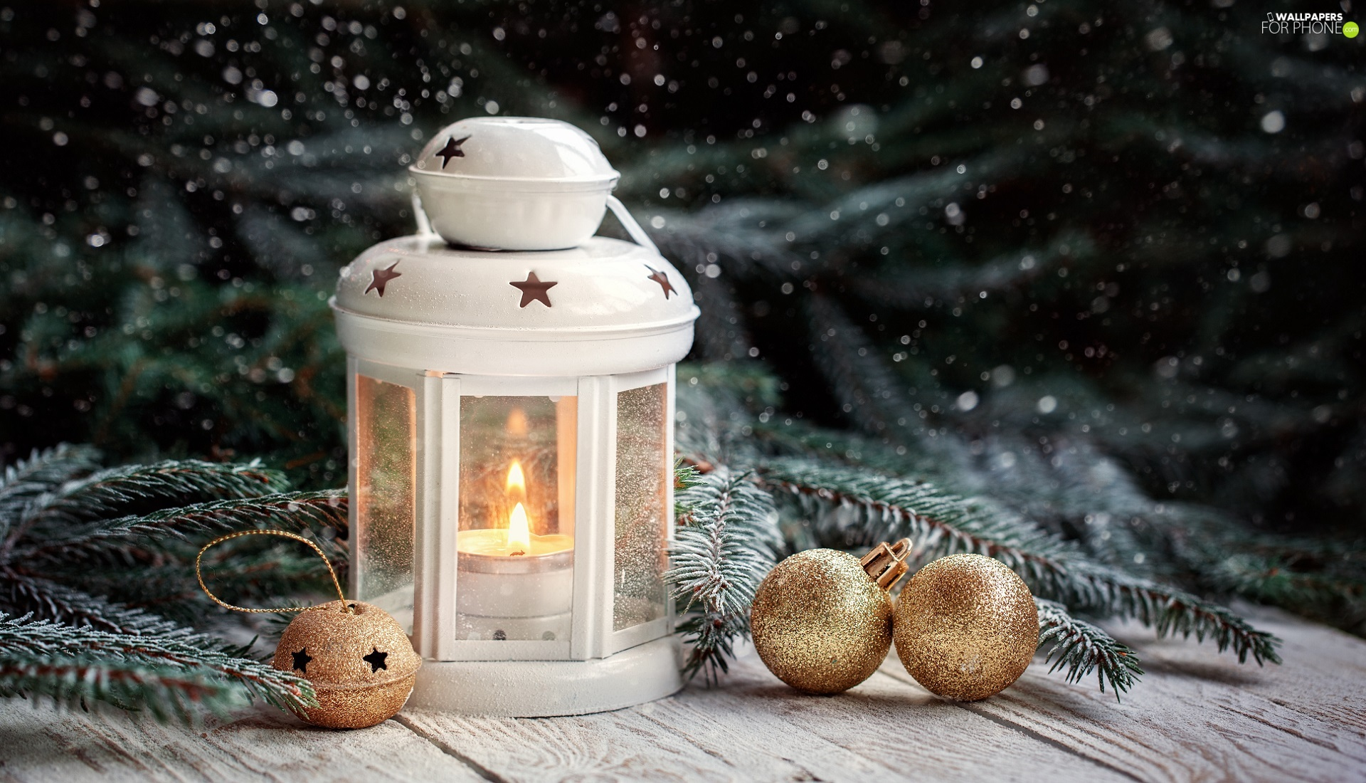 lantern, baubles, Twigs, White, Golden, spruce, Christmas