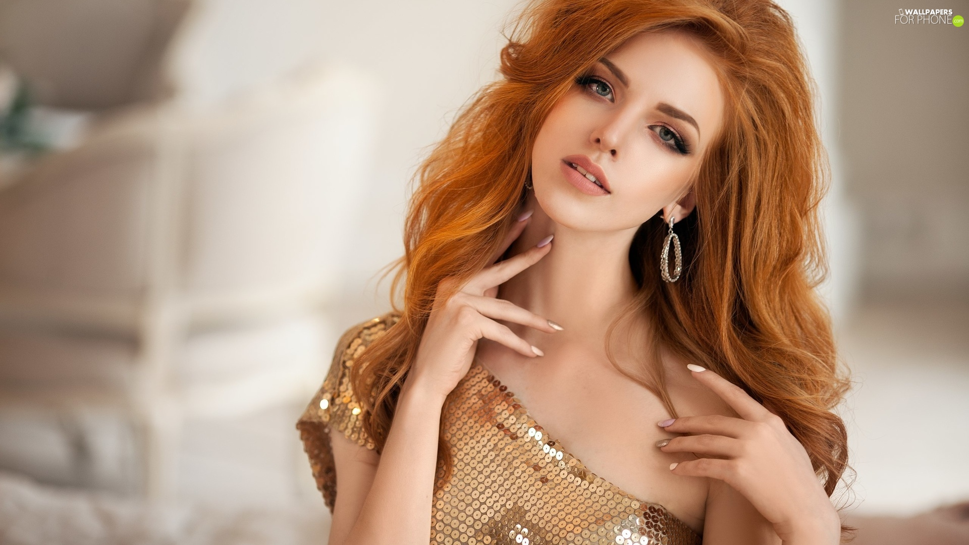 sequins, ear-ring, Women, Blouse, redhead