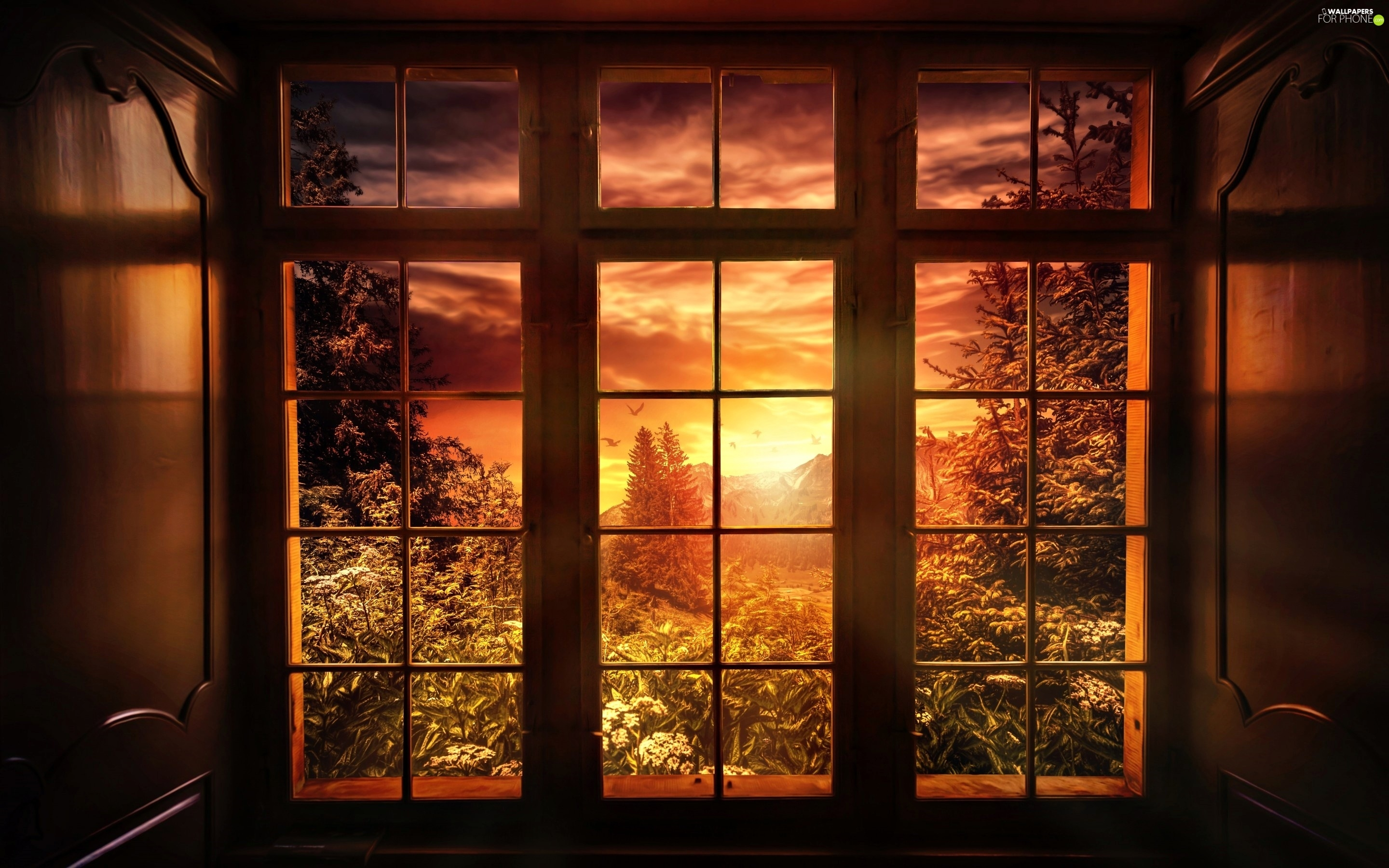 woods, landscape, Great Sunsets, Mountains, Window