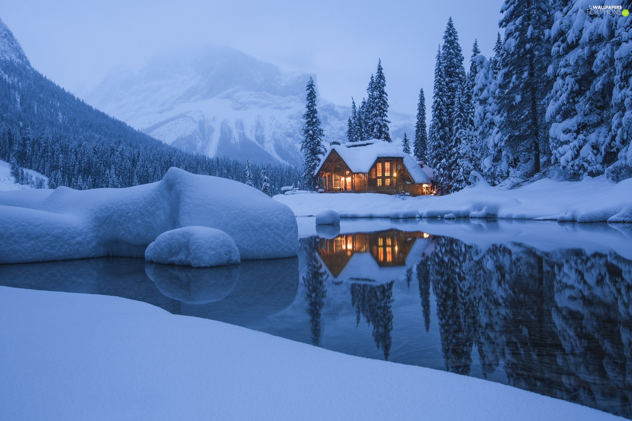 clouds, Fog, house, trees, snow, winter, Mountains, Yoho National Park, Canada, viewes, Emerald Lake, lake