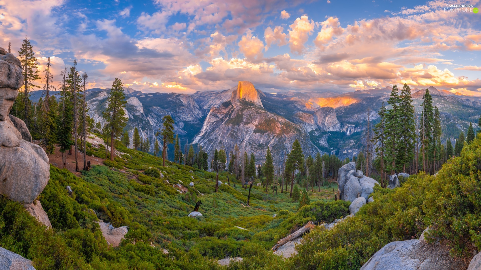 State of California, The United States, Yosemite National Park, trees, Sierra Nevada, clouds, Mountains, rocks, viewes